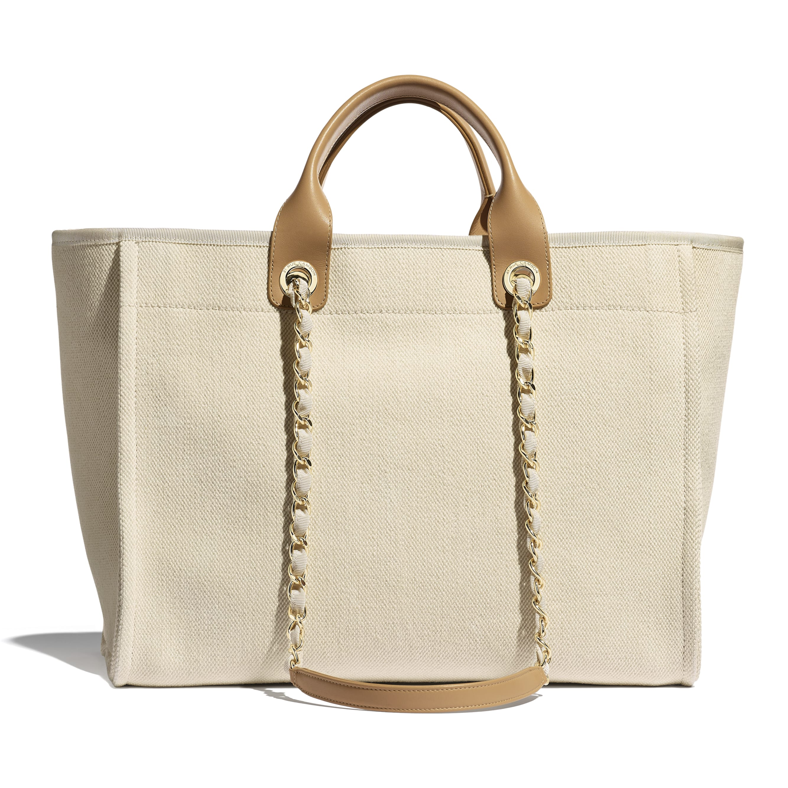 Shopping Bag - Ecru & Beige - Mixed Fibers, Imitation Pearls & Gold-Tone Metal - Alternative view - see standard sized version