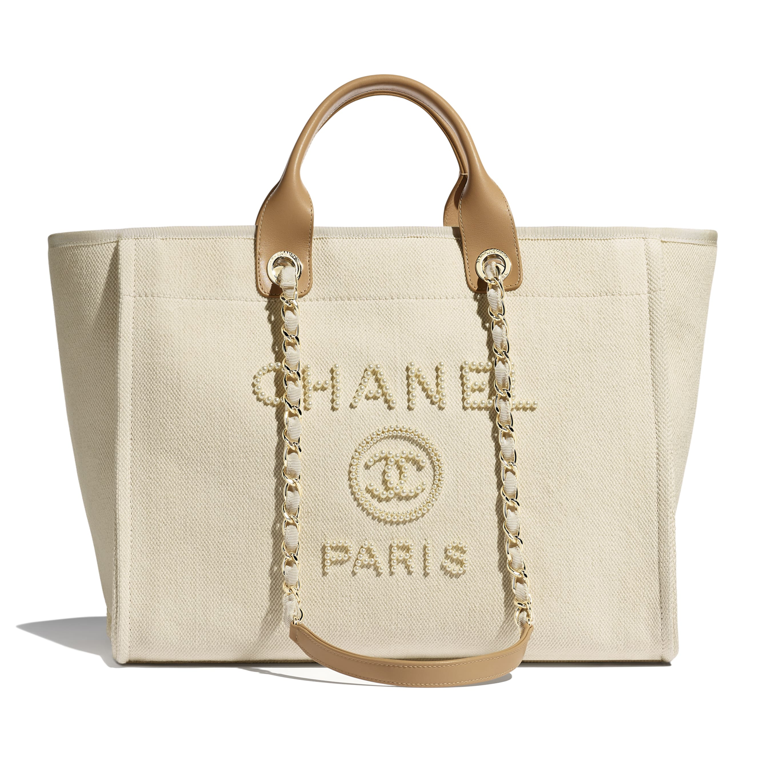 Shopping Bag - Ecru & Beige - Mixed Fibers, Imitation Pearls & Gold-Tone Metal - Default view - see standard sized version