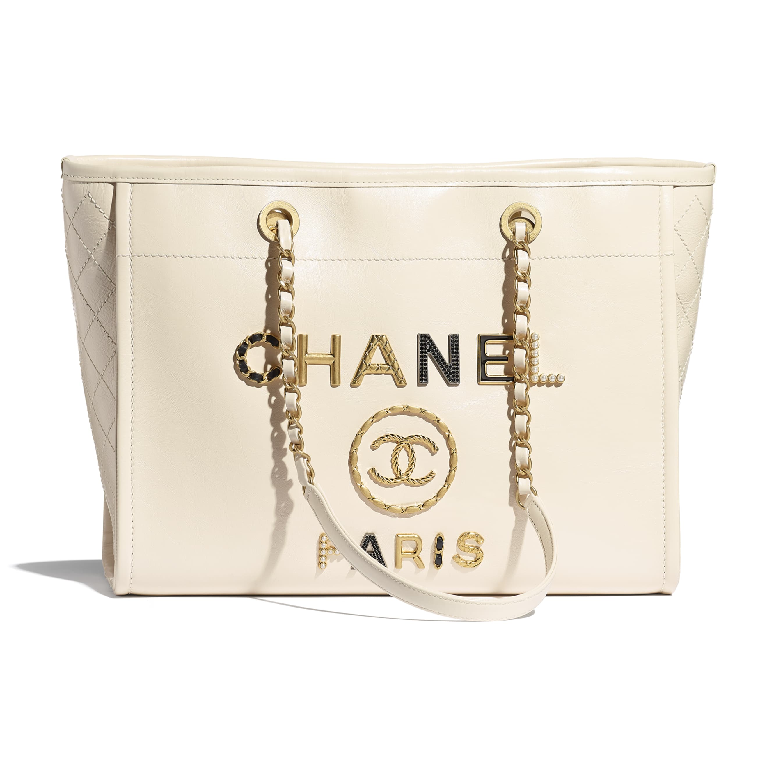 Shopping Bag - Ecru - Shiny Calfskin, Crystal Pearls, Diamante, Enamel, Gold-Tone & Ruthenium-Finish Metal - CHANEL - Default view - see standard sized version