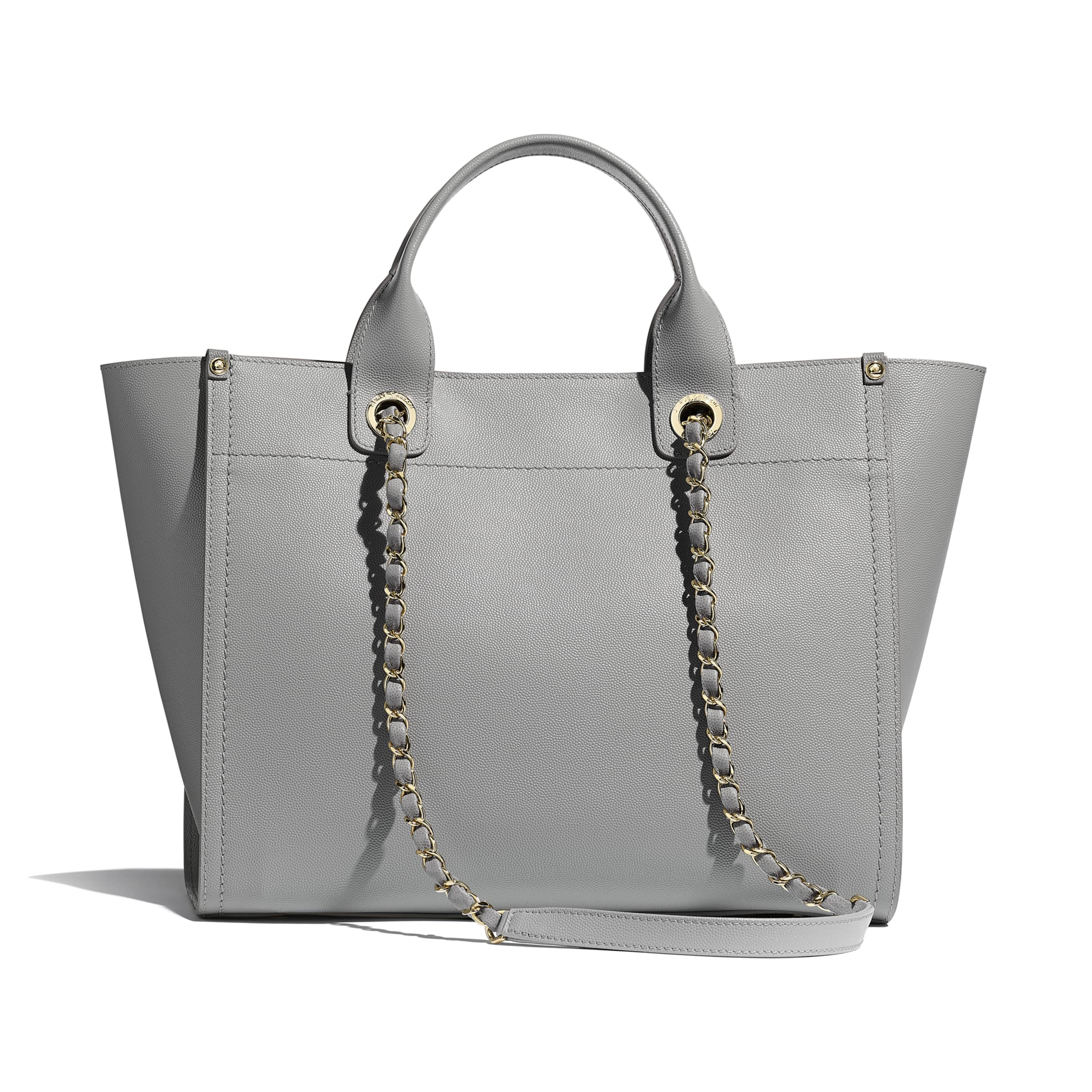 Shopping Bag - Grey - Grained Calfskin & Gold-Tone Metal - Alternative view - see standard sized version