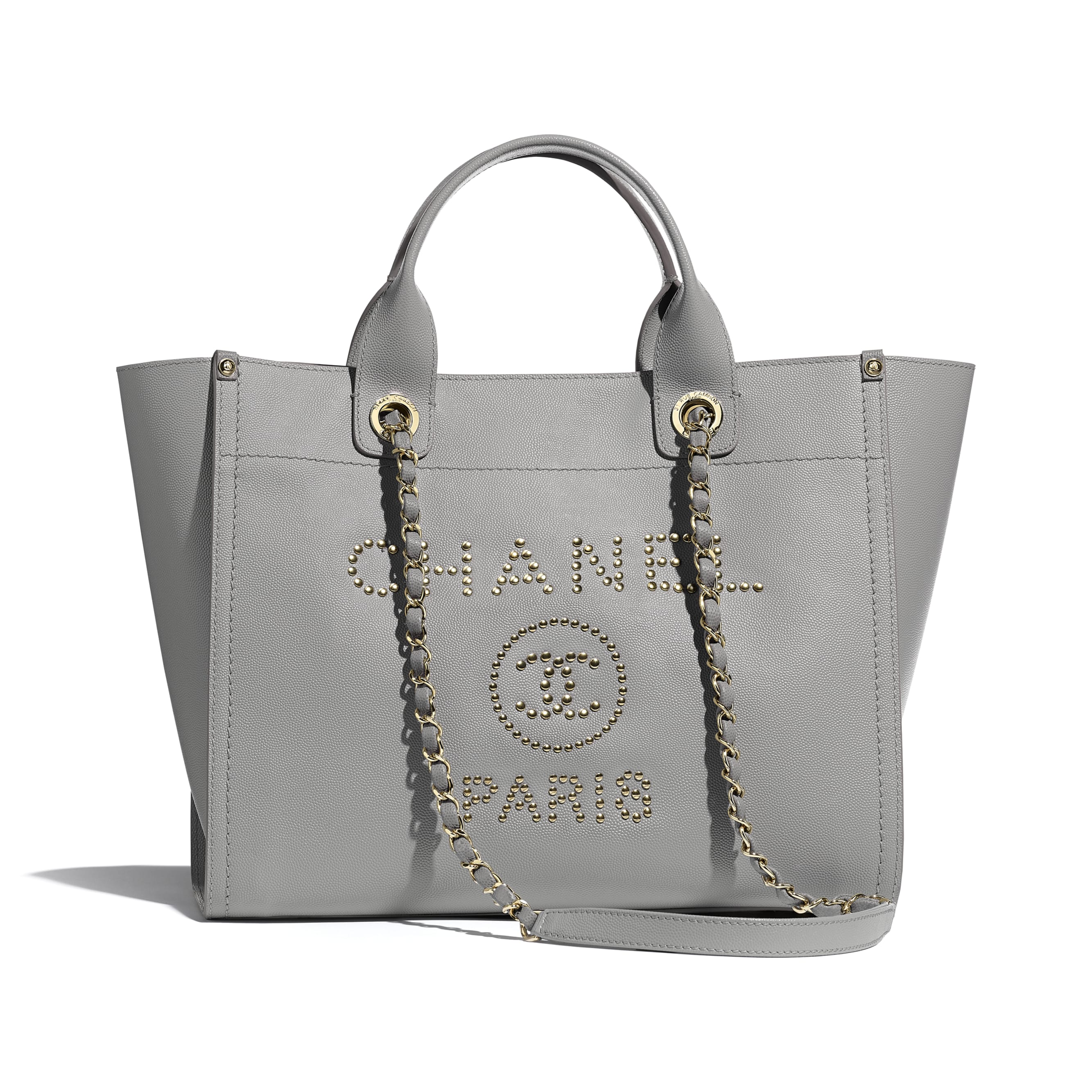 Shopping Bag - Grey - Grained Calfskin & Gold-Tone Metal - CHANEL - Default view - see standard sized version