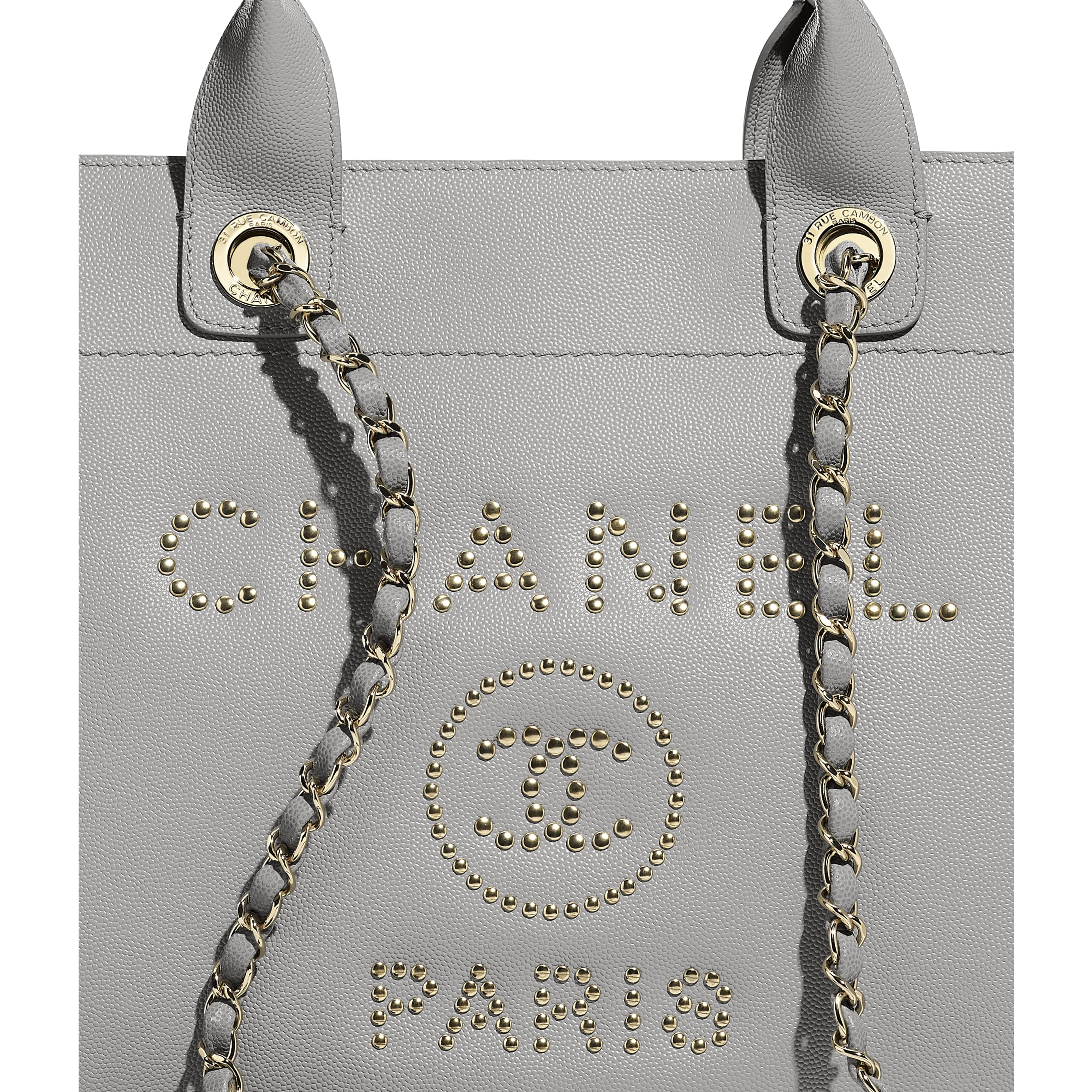 Shopping Bag - Grey - Grained Calfskin & Gold-Tone Metal - CHANEL - Extra view - see standard sized version