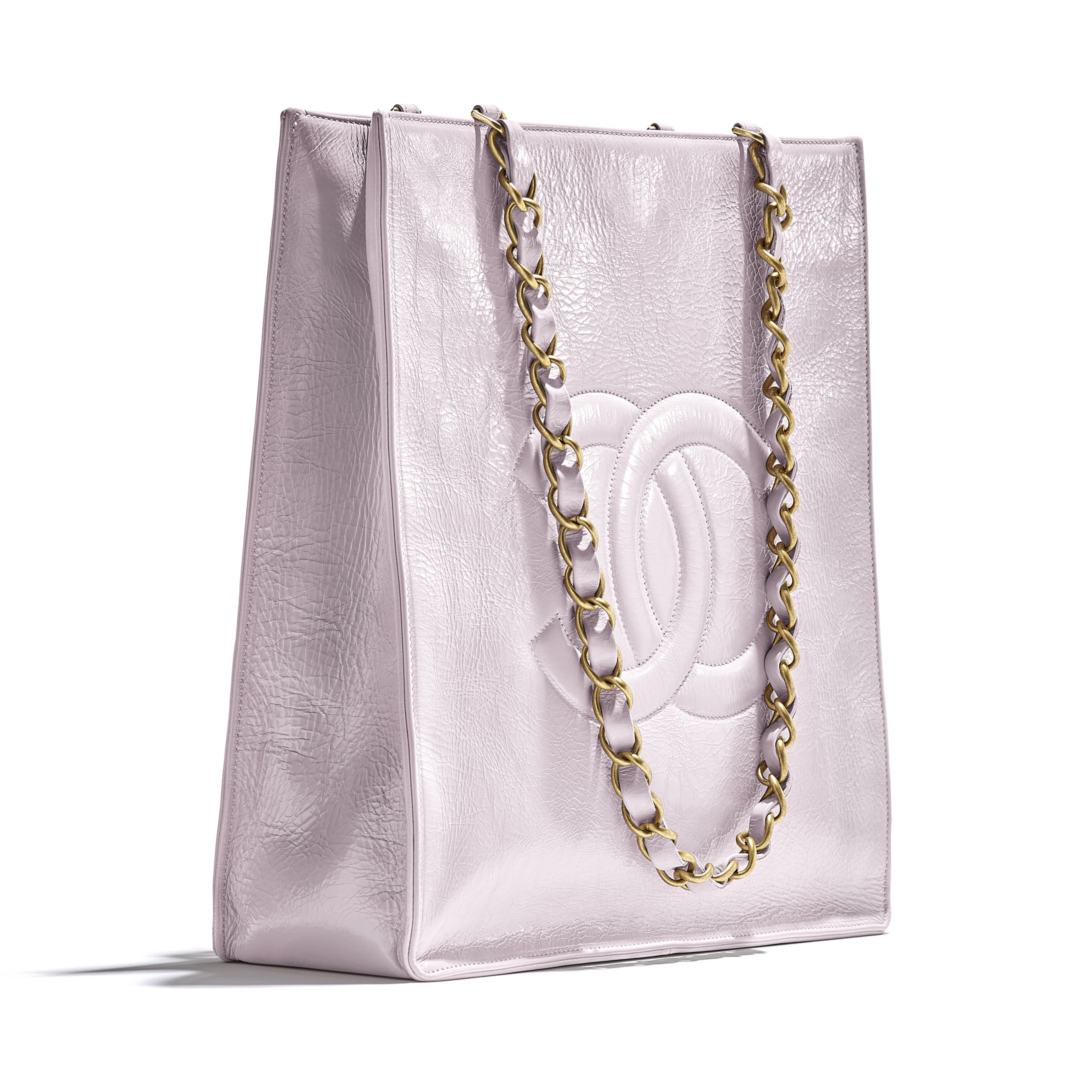 Shopping Bag - Lilac - Shiny Aged Calfskin & Gold-Tone Metal - CHANEL - Extra view - see standard sized version