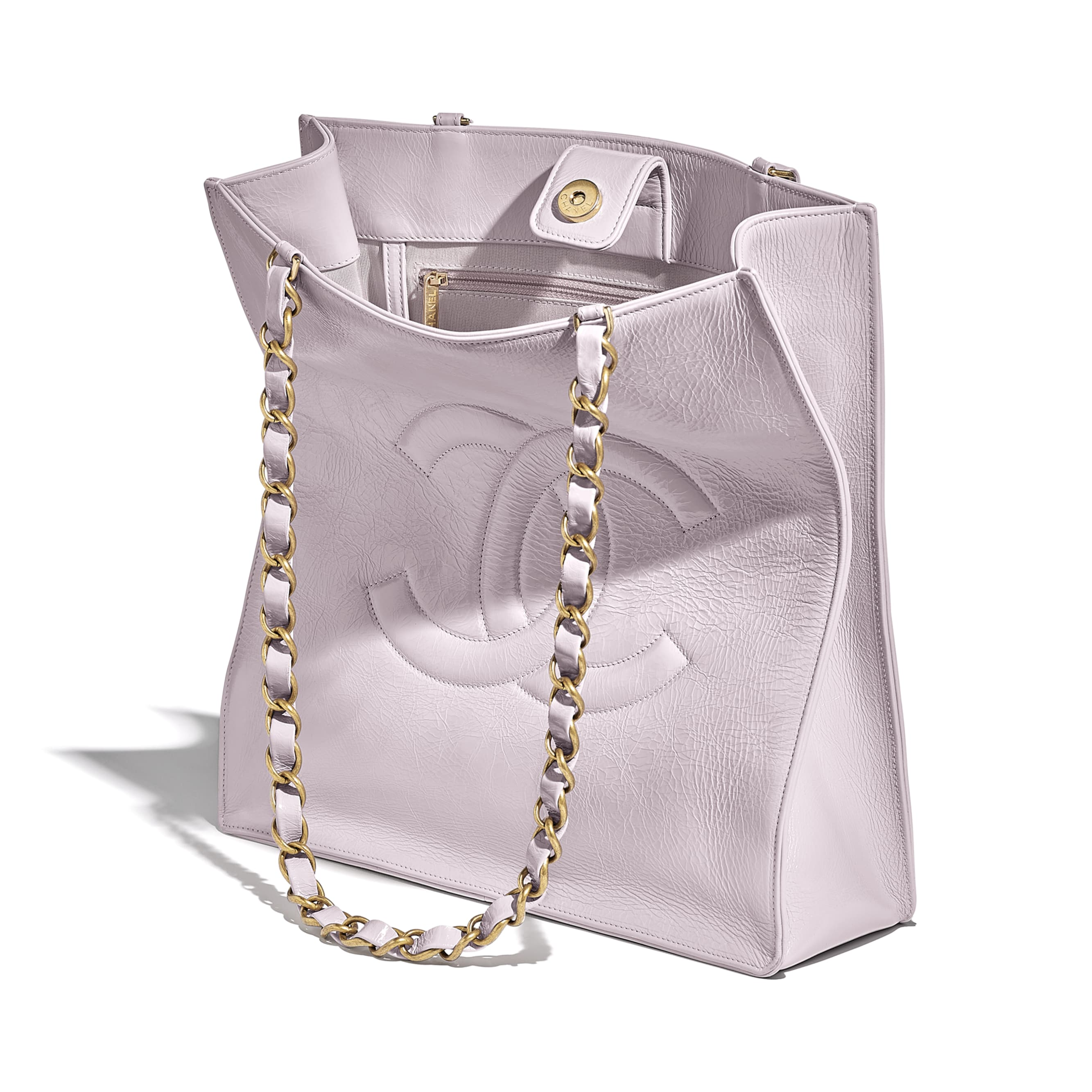 Shopping Bag - Lilac - Shiny Aged Calfskin & Gold-Tone Metal - CHANEL - Other view - see standard sized version