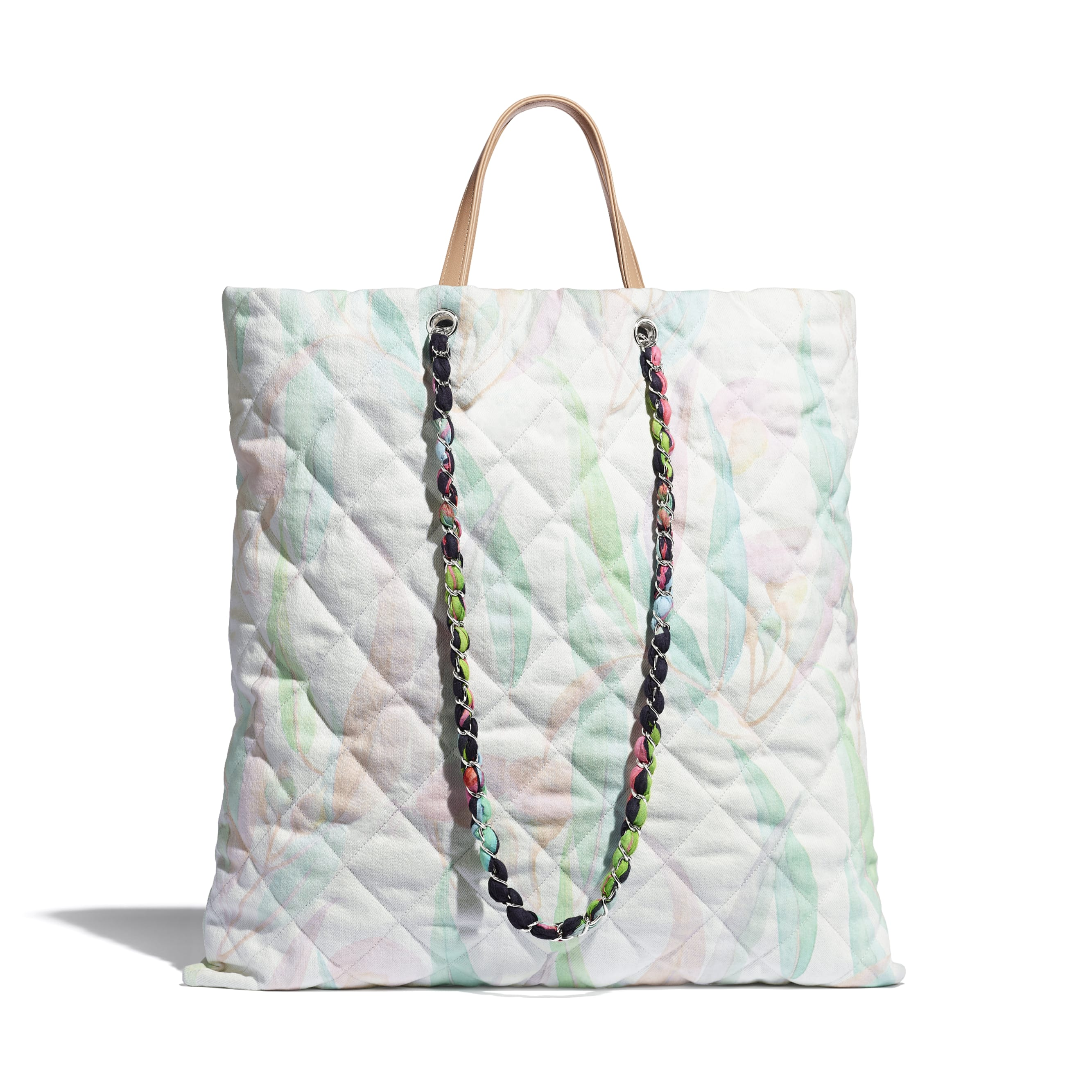 Shopping Bag - Multicolor - Denim & Silver-Tone Metal - CHANEL - Alternative view - see standard sized version