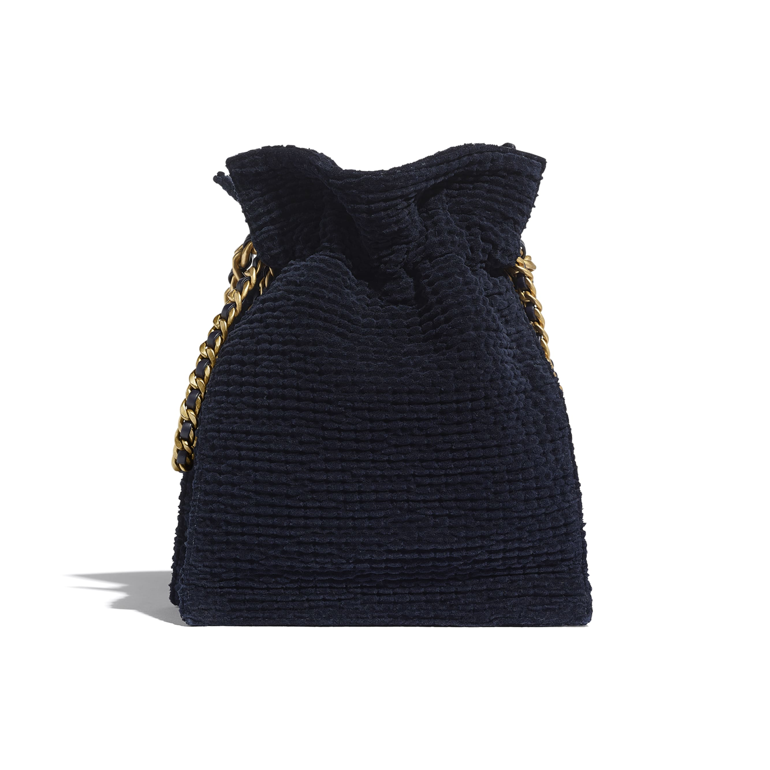 Shopping Bag - Navy Blue - Cotton Tweed & Gold-Tone Metal - CHANEL - Alternative view - see standard sized version