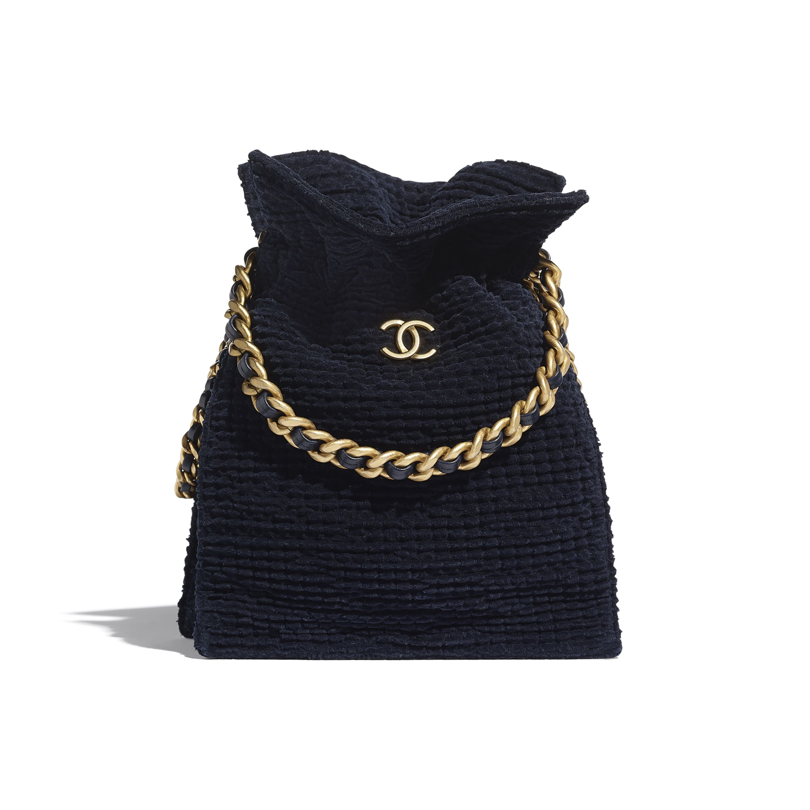 Shopping Bag - Navy Blue - Cotton Tweed & Gold-Tone Metal - CHANEL - Default view - see standard sized version