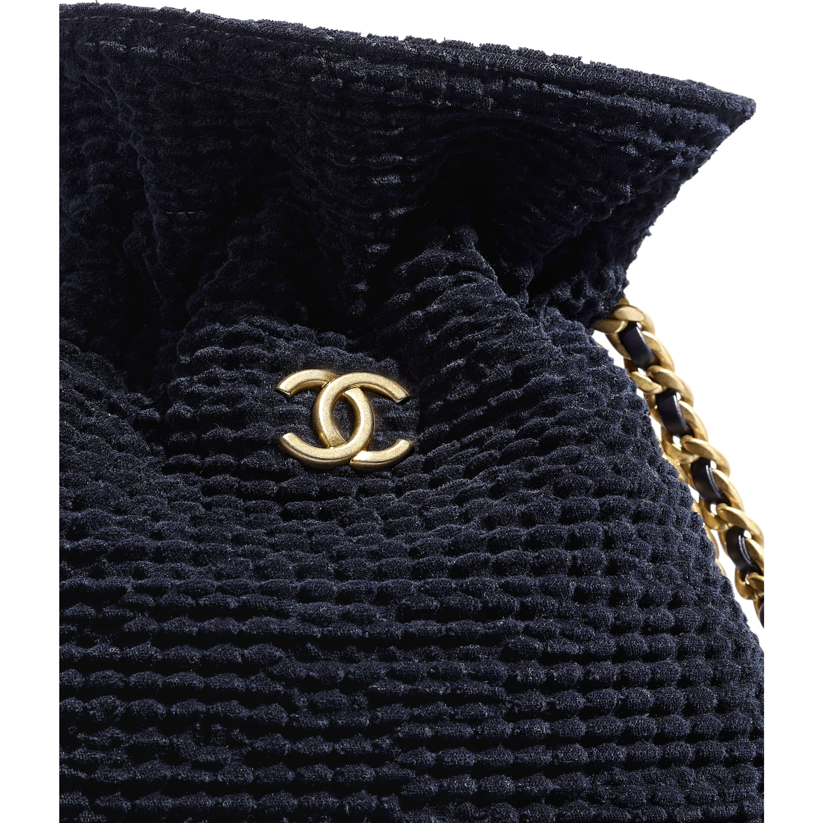 Shopping Bag - Navy Blue - Cotton Tweed & Gold-Tone Metal - CHANEL - Extra view - see standard sized version