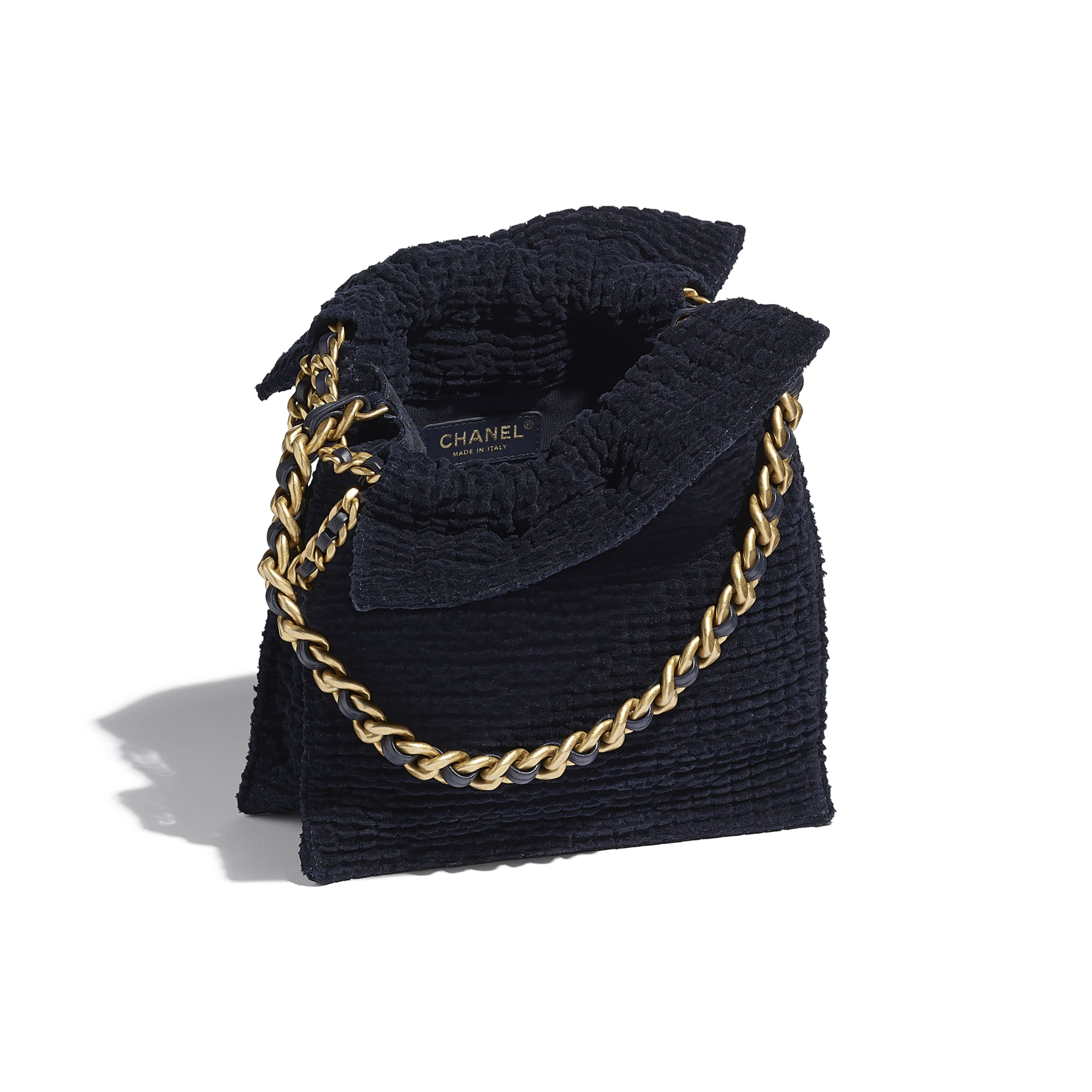 Shopping Bag - Navy Blue - Cotton Tweed & Gold-Tone Metal - CHANEL - Other view - see standard sized version