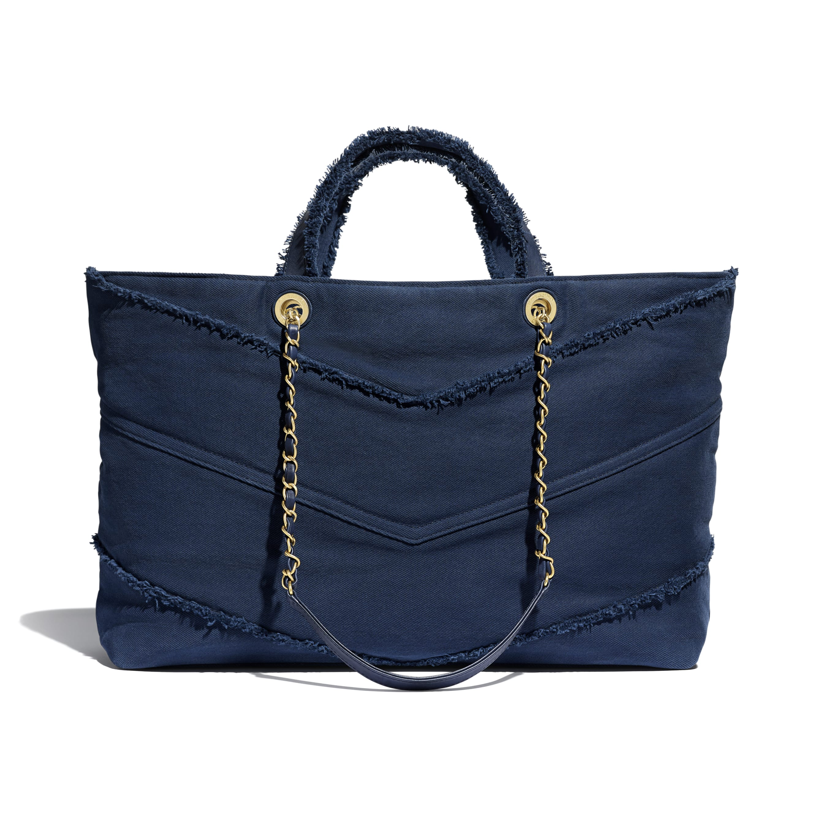 Shopping Bag - Navy Blue - Denim & Gold Metal - Alternative view - see standard sized version