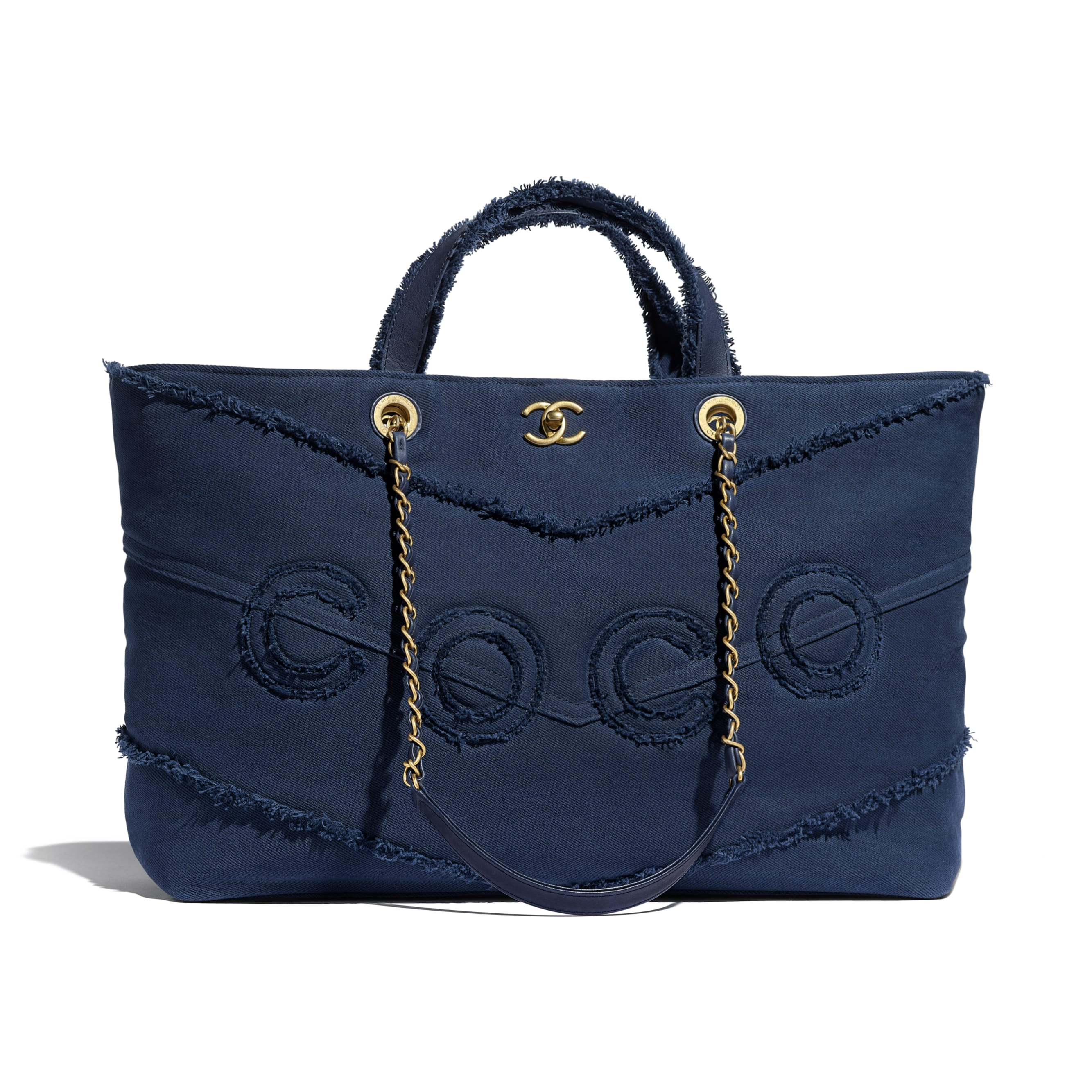 Shopping Bag - Navy Blue - Denim & Gold Metal - Default view - see standard sized version