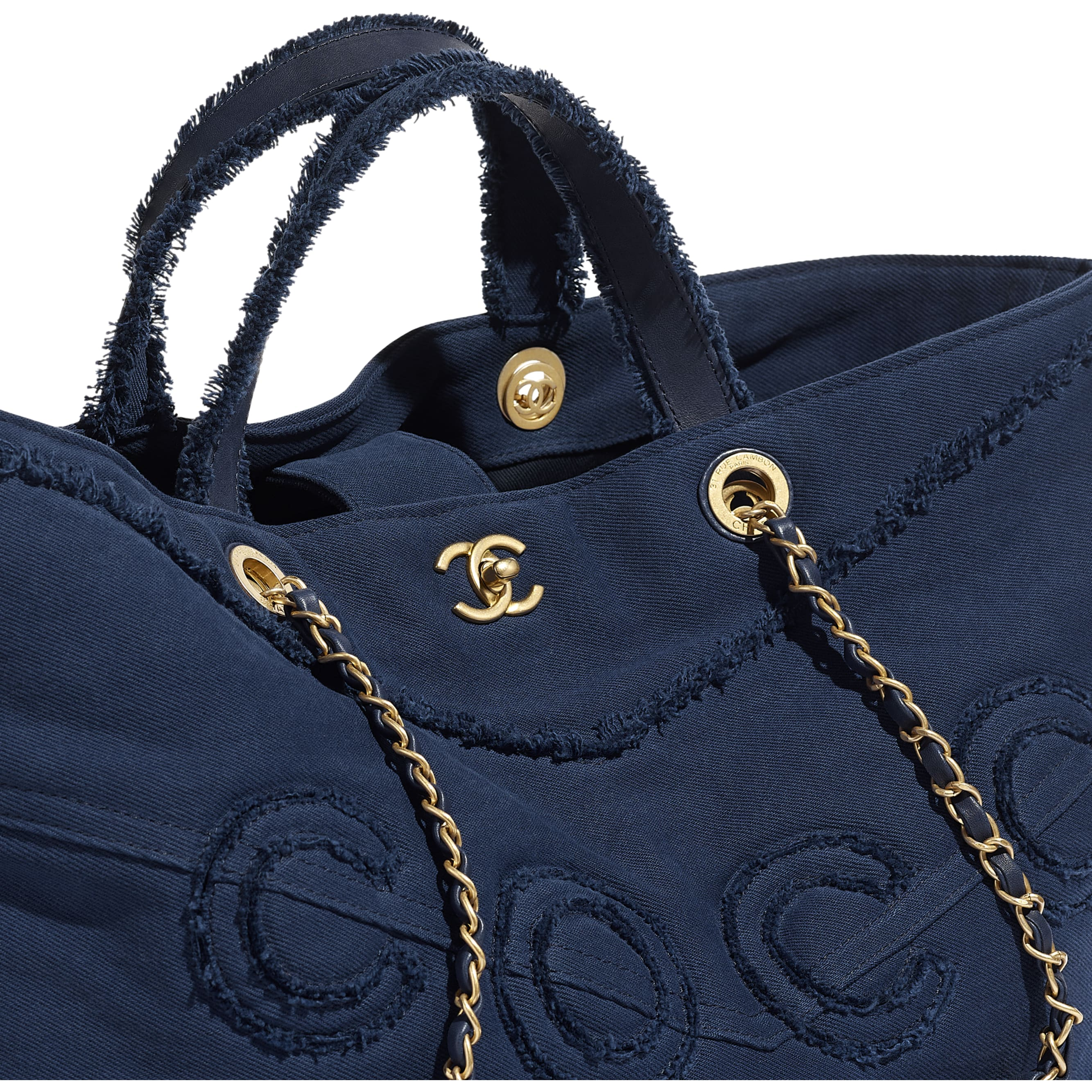 Shopping Bag - Navy Blue - Denim & Gold Metal - Extra view - see standard sized version