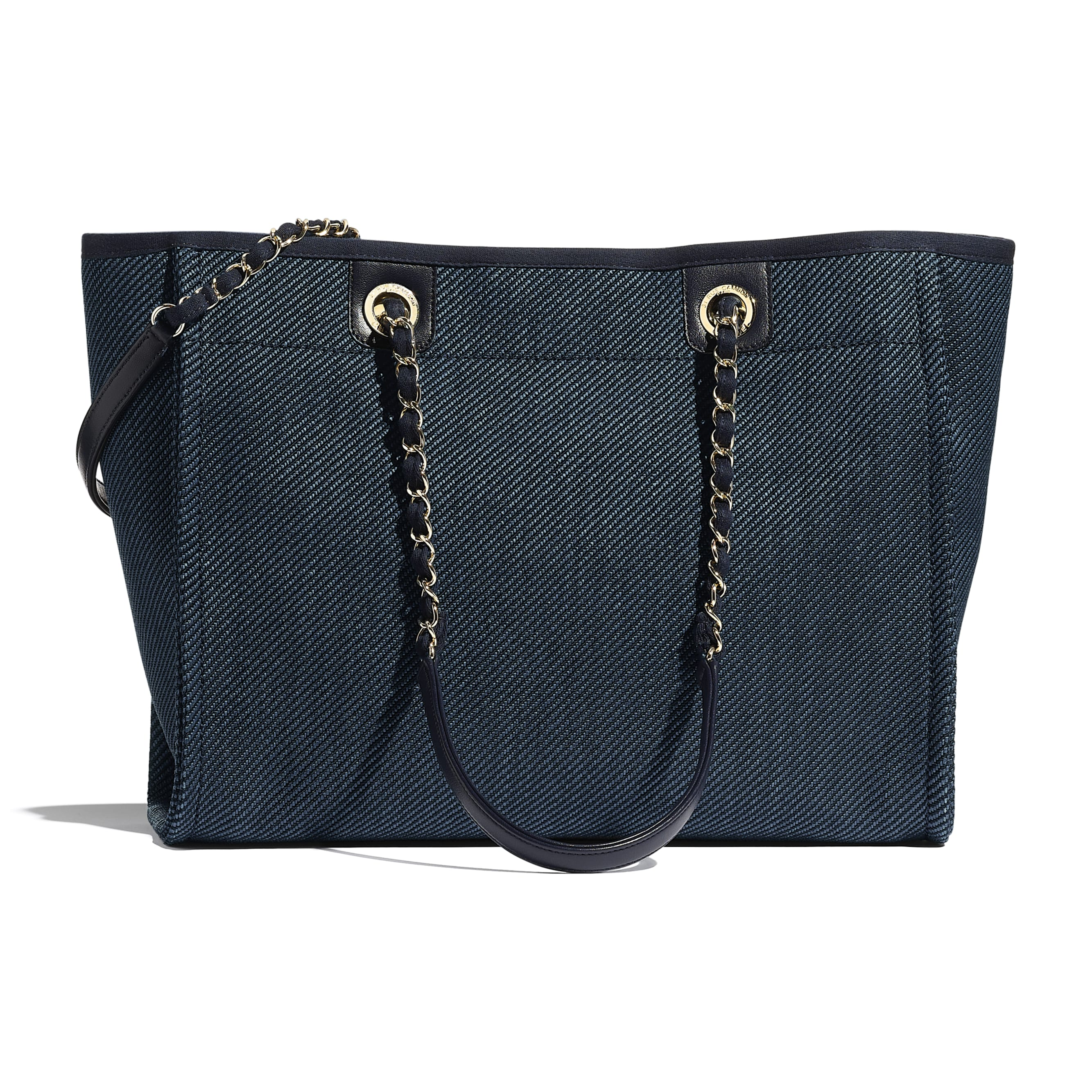Shopping Bag - Navy Blue - Mixed Fibres, Calfskin & Gold-Tone Metal - CHANEL - Alternative view - see standard sized version