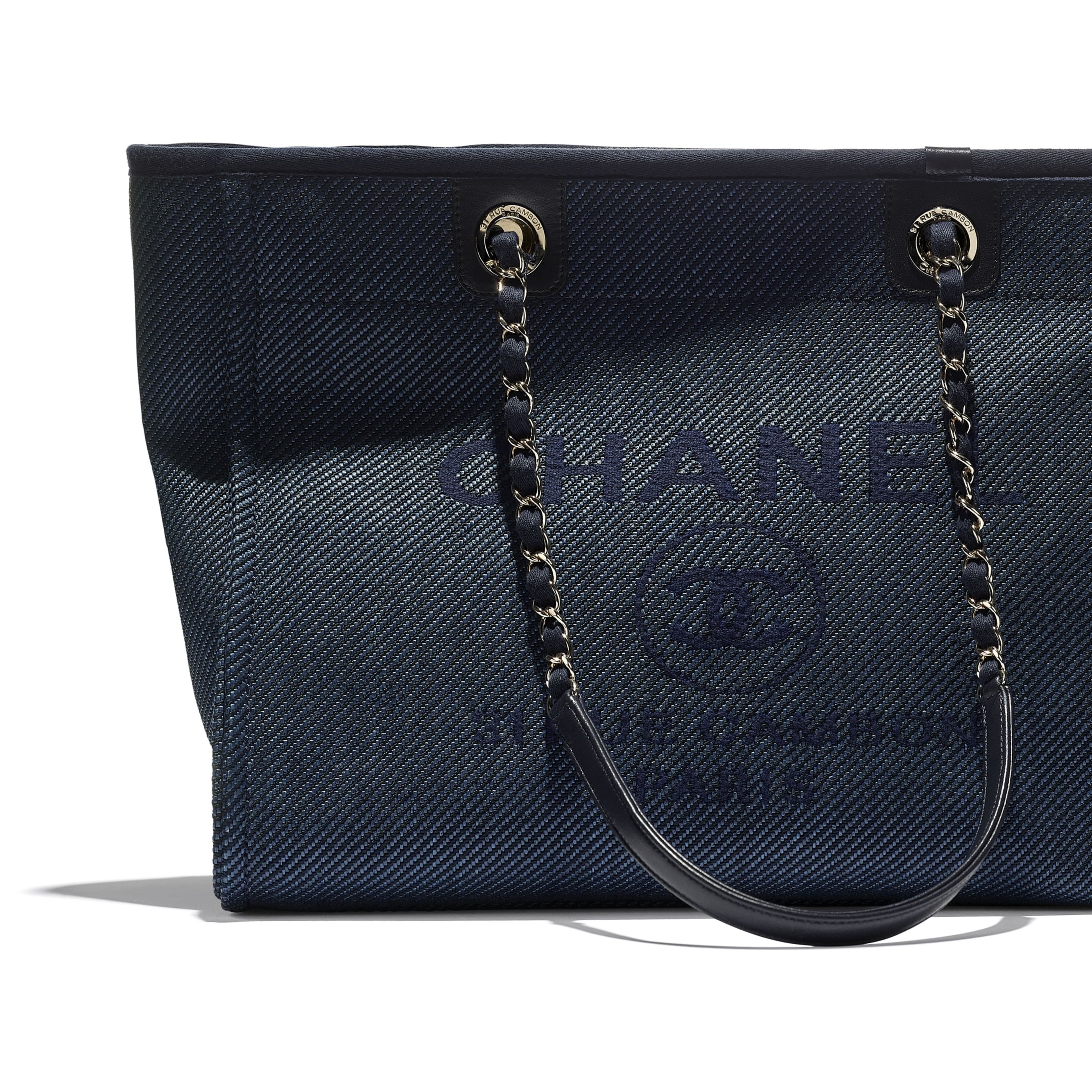 Shopping Bag - Navy Blue - Mixed Fibres, Calfskin & Gold-Tone Metal - CHANEL - Extra view - see standard sized version