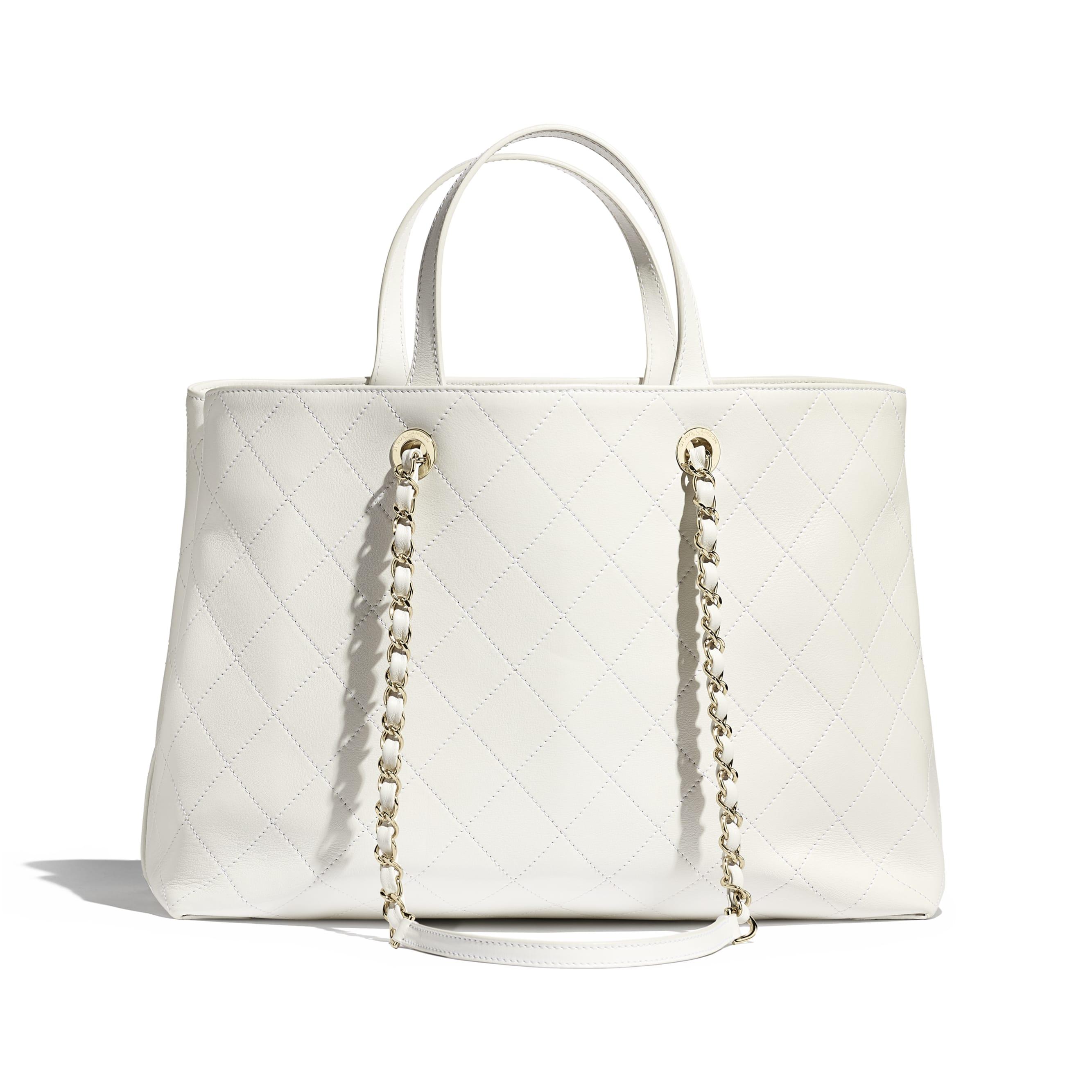 Shopping Bag - White - Calfskin & Gold-Tone Metal - CHANEL - Alternative view - see standard sized version