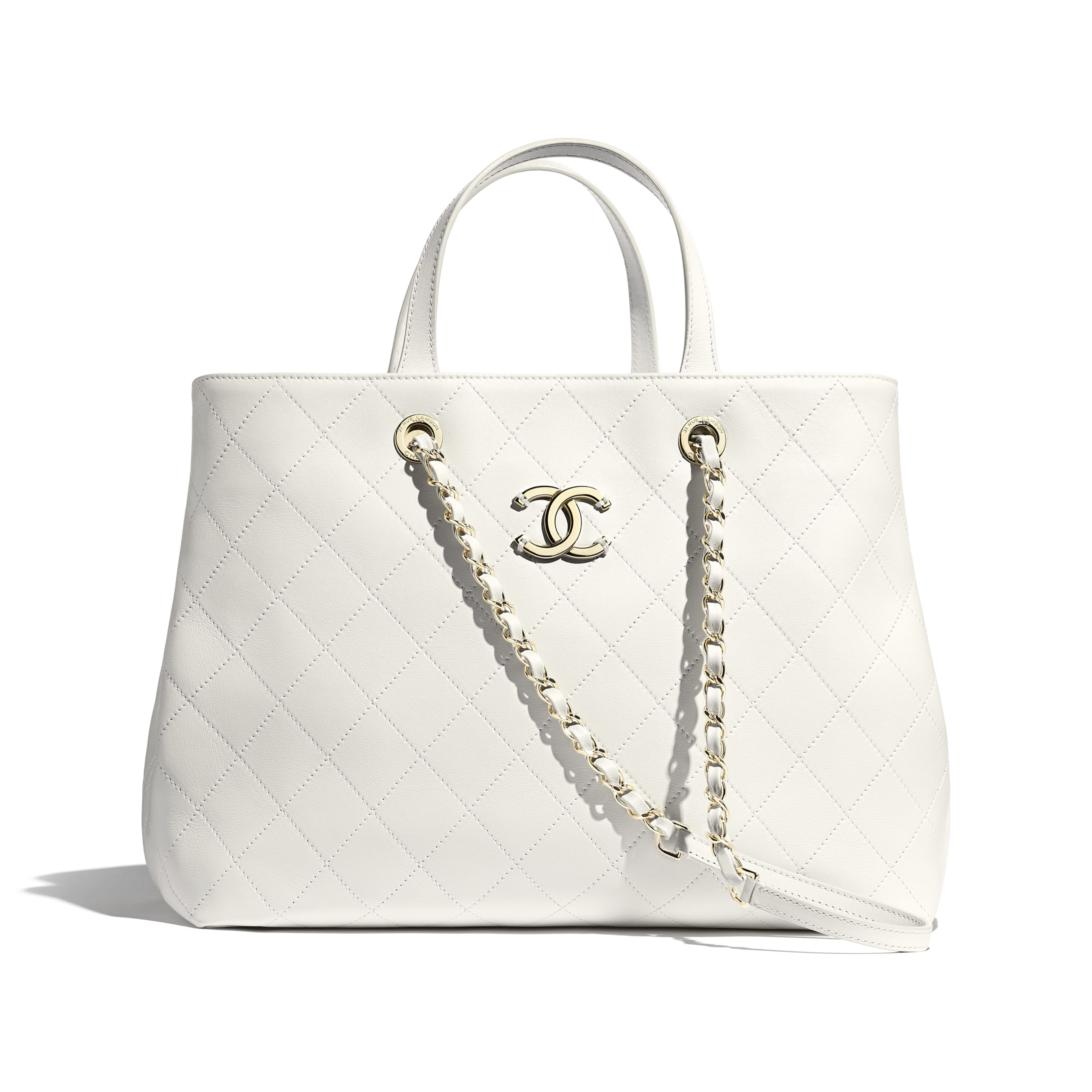 Shopping Bag - White - Calfskin & Gold-Tone Metal - CHANEL - Default view - see standard sized version