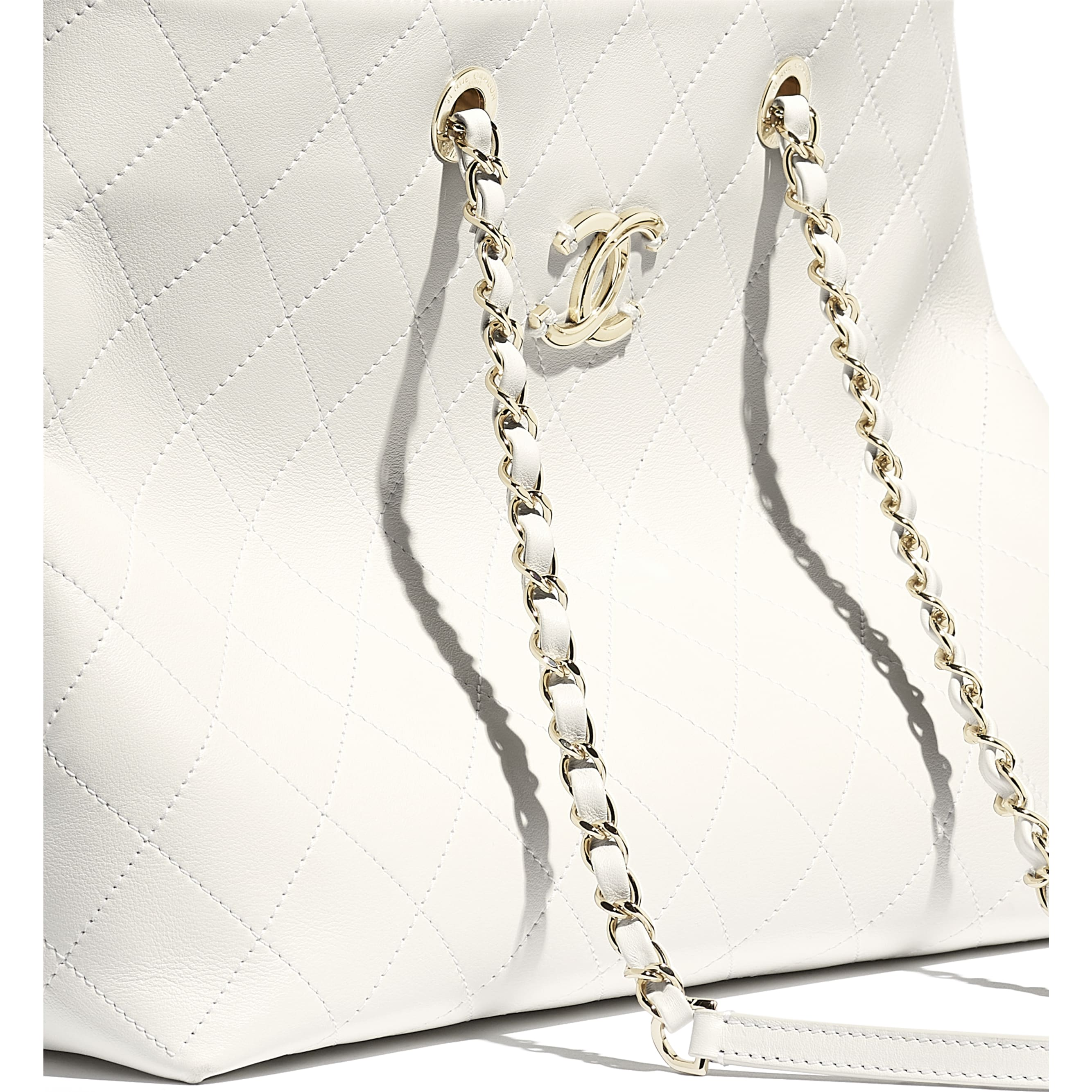 Shopping Bag - White - Calfskin & Gold-Tone Metal - CHANEL - Extra view - see standard sized version