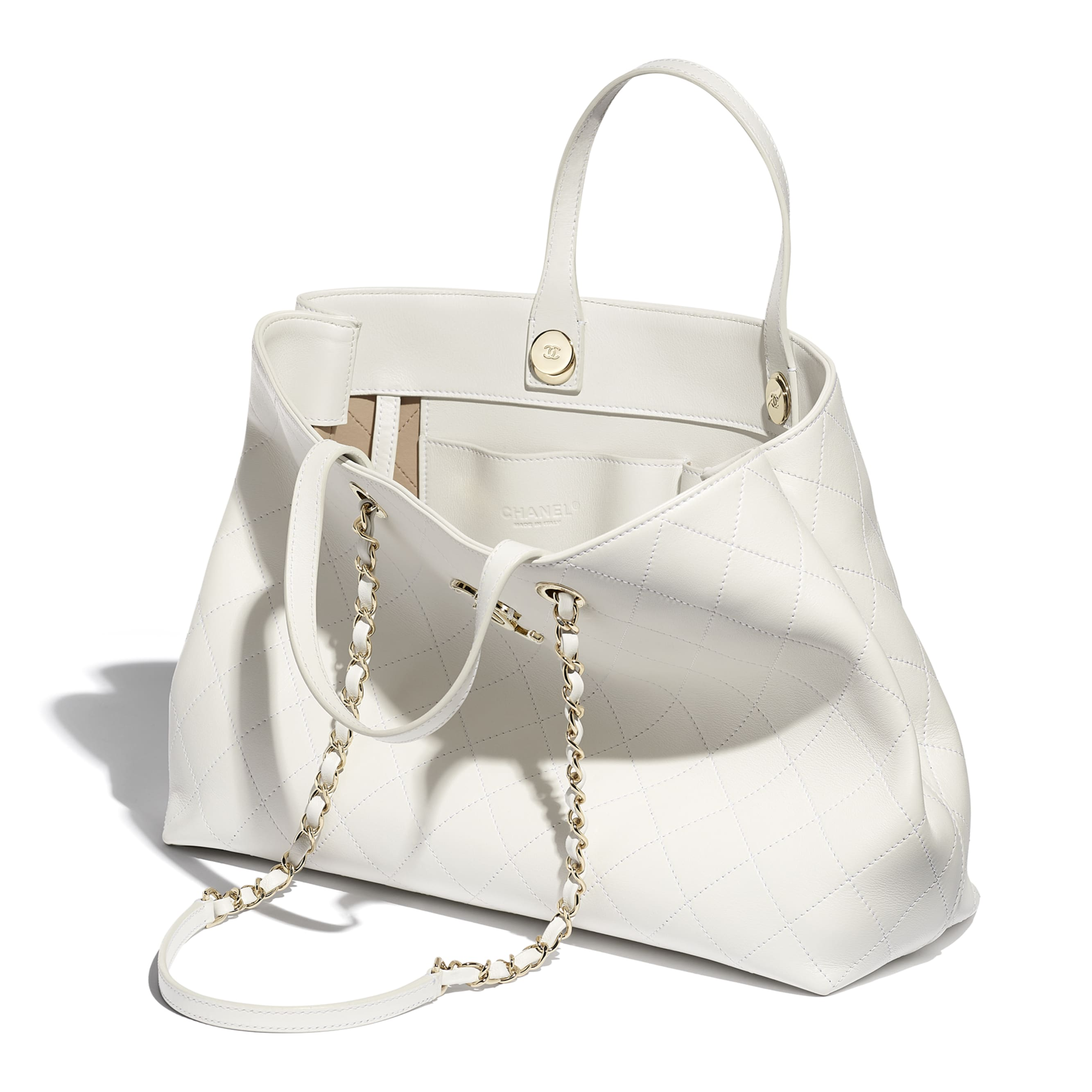 Shopping Bag - White - Calfskin & Gold-Tone Metal - CHANEL - Other view - see standard sized version