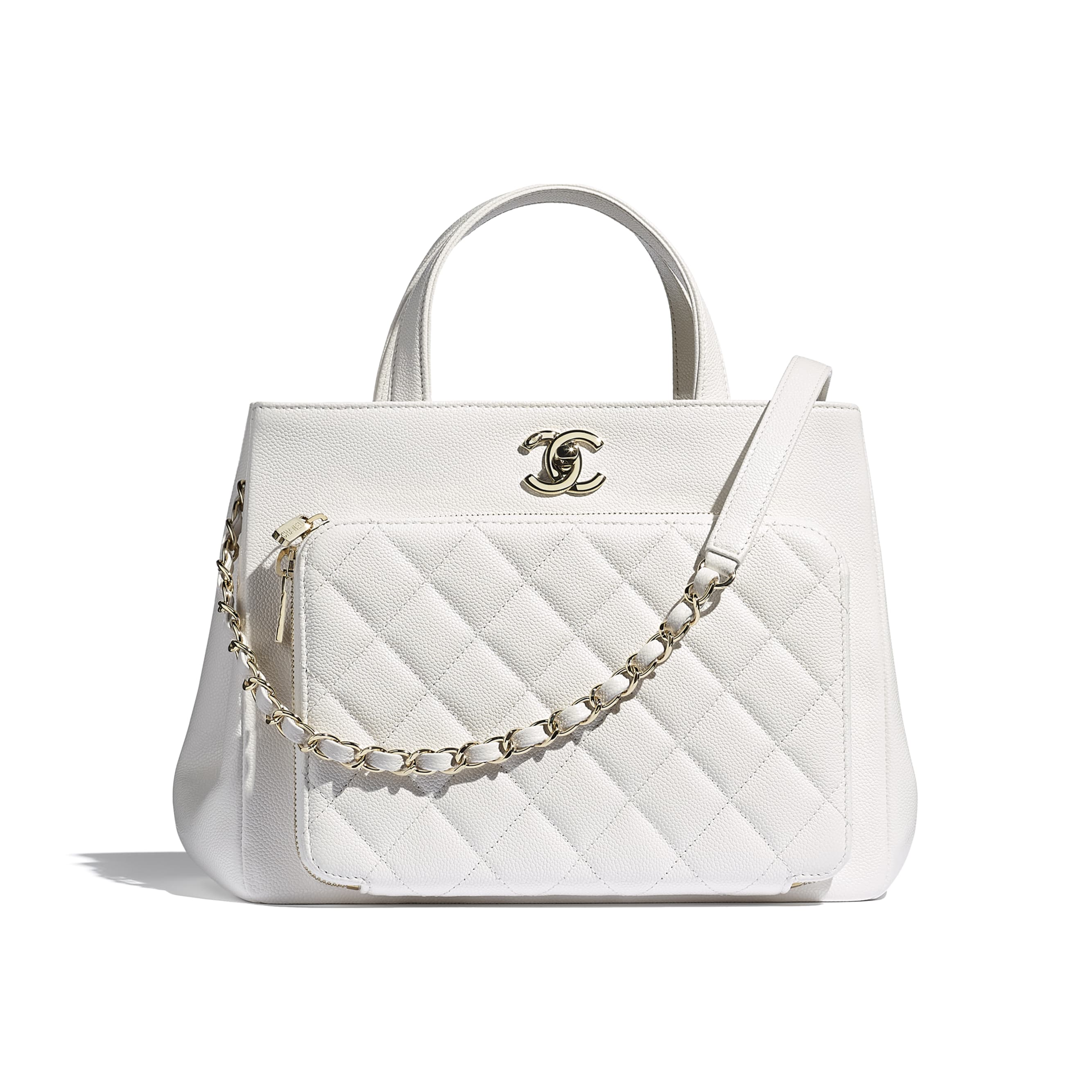 Shopping Bag - White - Grained Calfskin & Gold-Tone Metal - CHANEL - Default view - see standard sized version