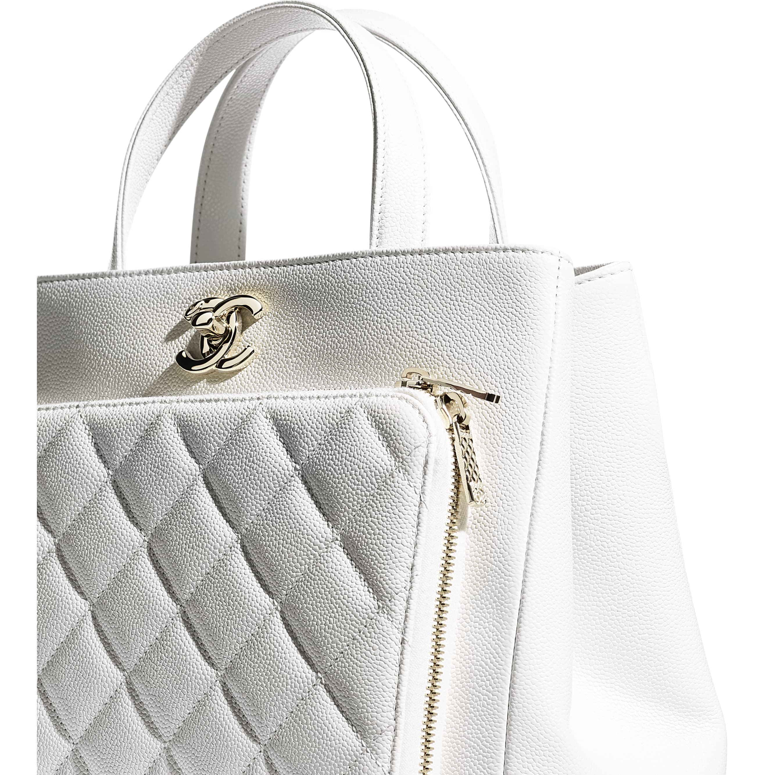 Shopping Bag - White - Grained Calfskin & Gold-Tone Metal - CHANEL - Extra view - see standard sized version