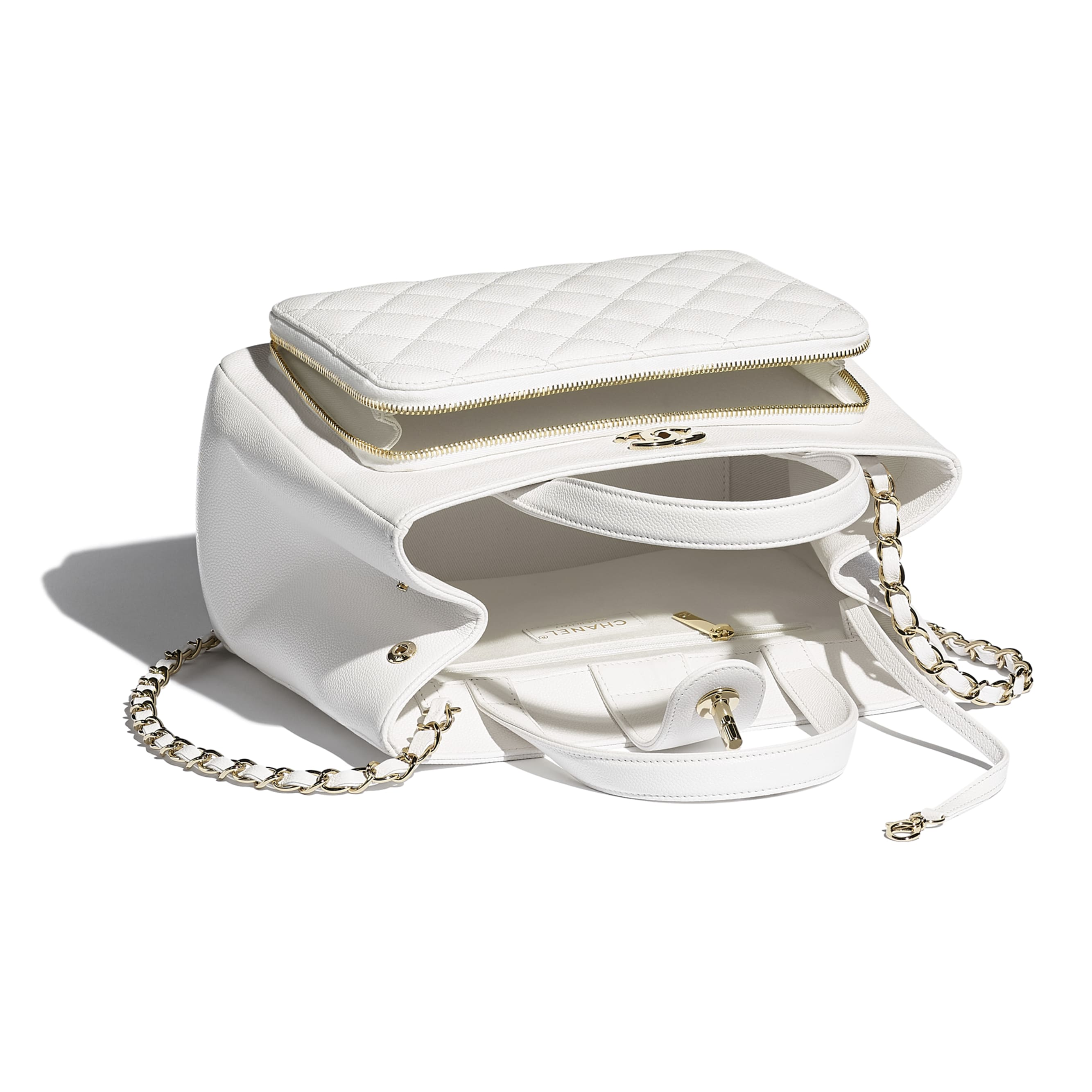 Shopping Bag - White - Grained Calfskin & Gold-Tone Metal - CHANEL - Other view - see standard sized version