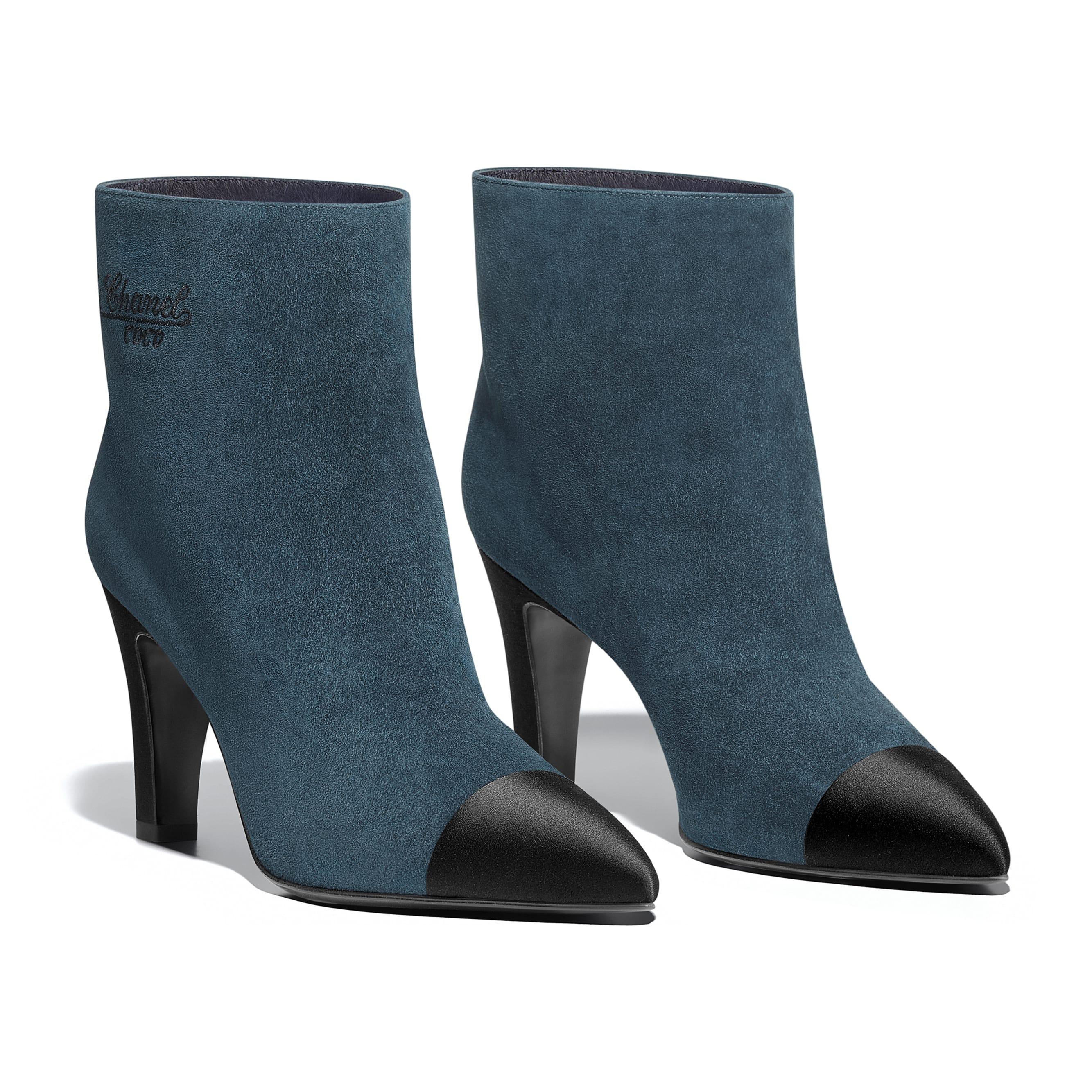 Short Boots - Blue & Black - Suede Calfskin & Satin - Alternative view - see standard sized version