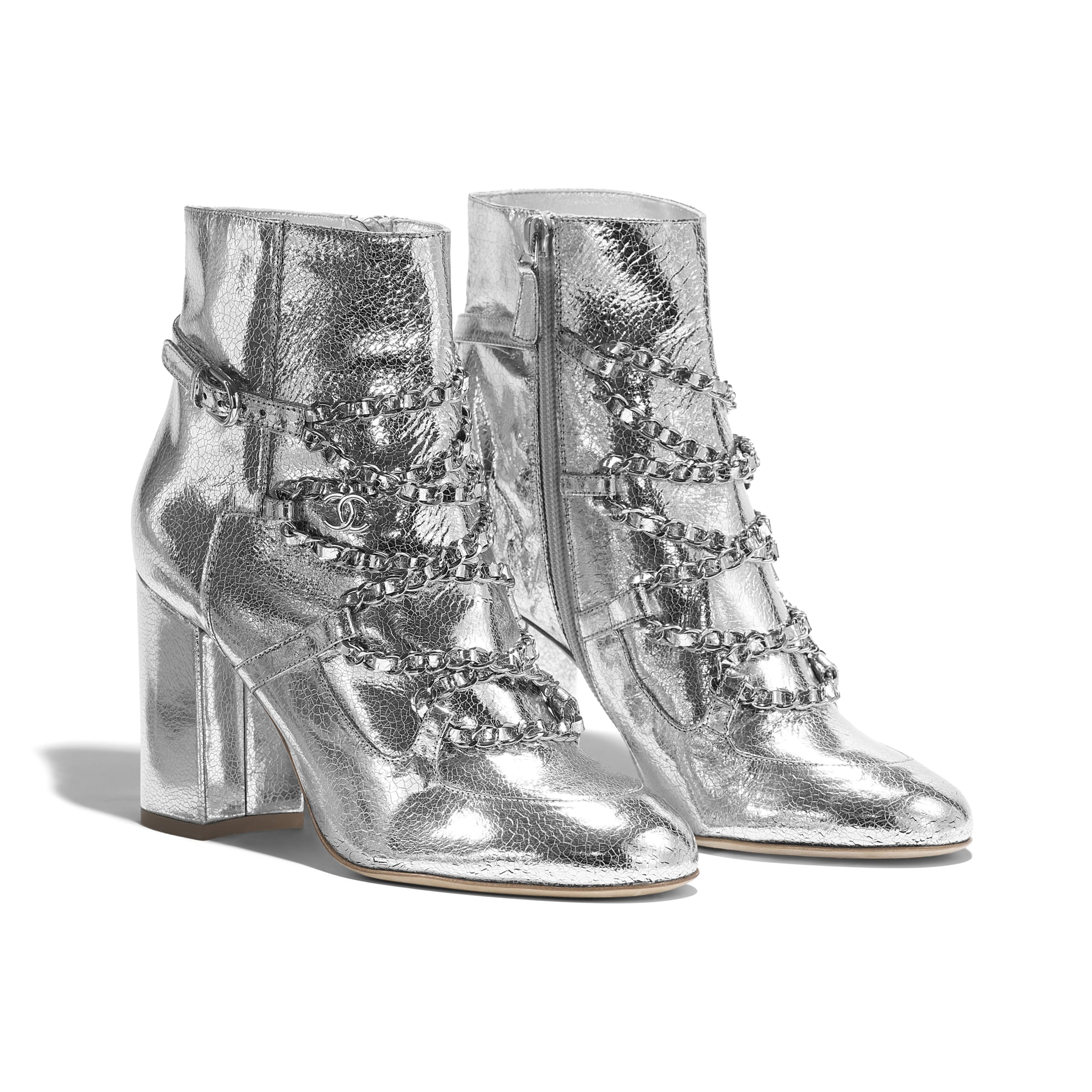 Short Boots - Silver - Laminated Goatskin - Alternative view - see standard sized version