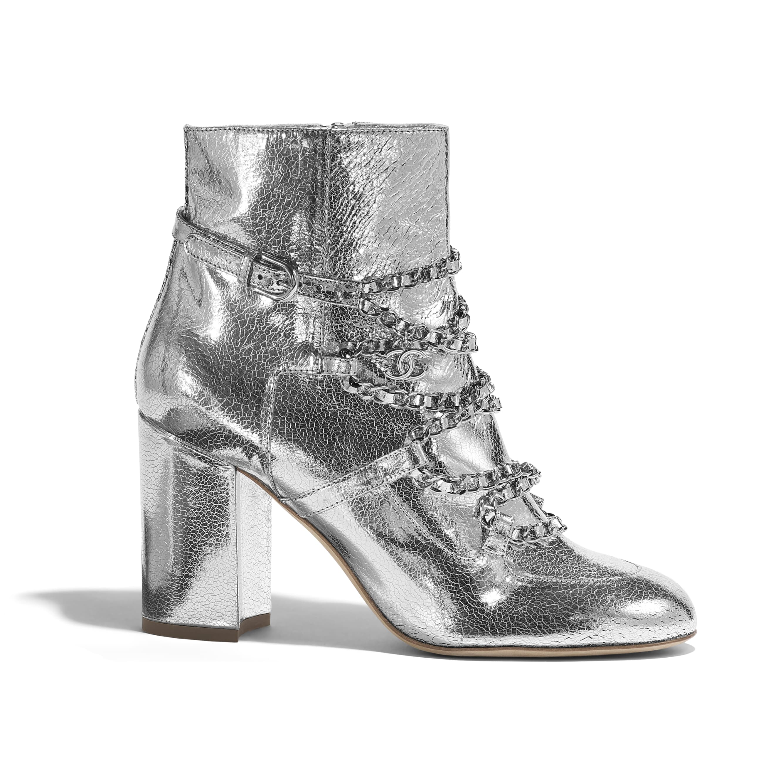 Short Boots - Silver - Laminated Goatskin - Default view - see standard sized version
