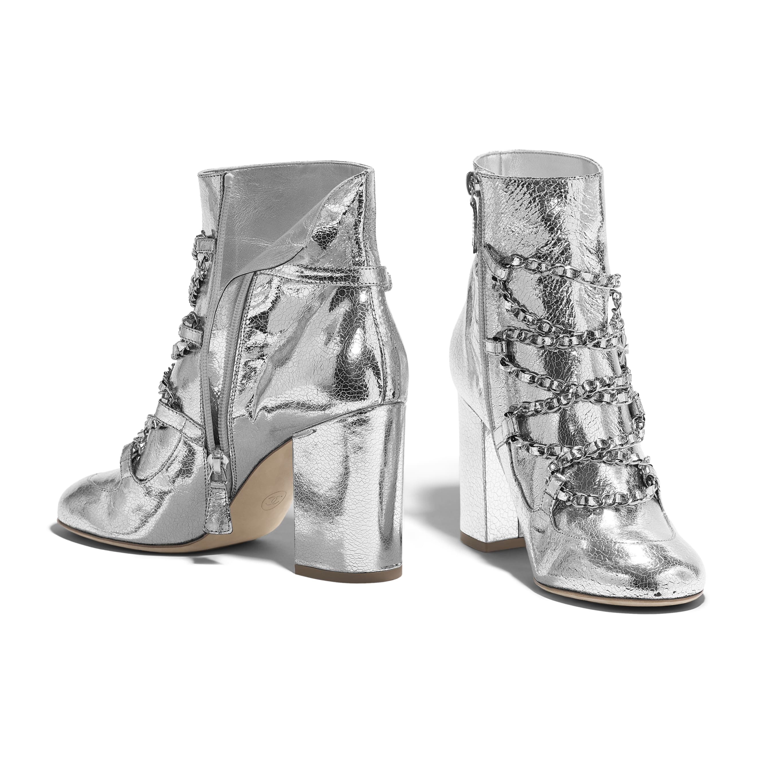 Short Boots - Silver - Laminated Goatskin - Other view - see standard sized version