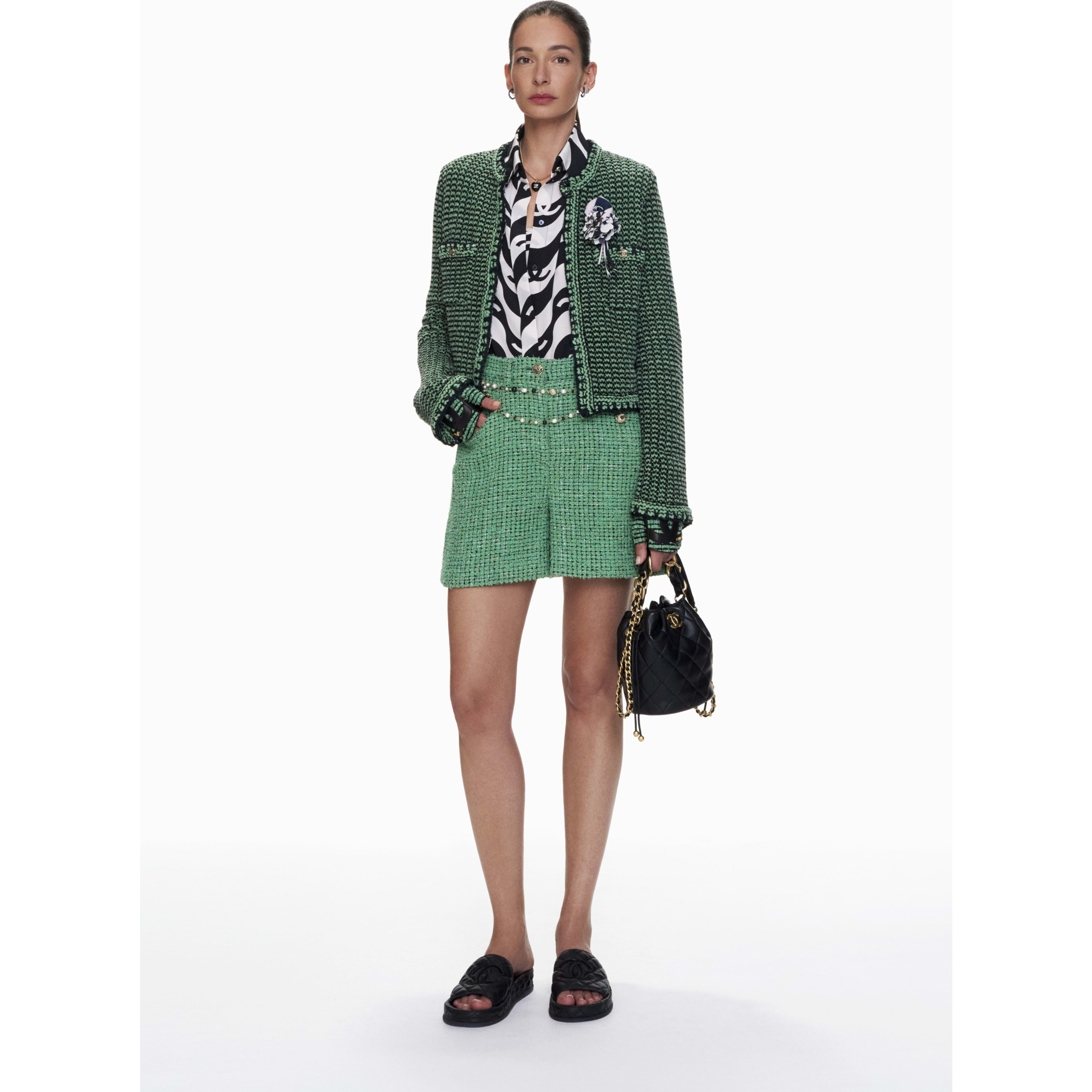 Shorts - Green & Black - Tweed - CHANEL - Default view - see standard sized version
