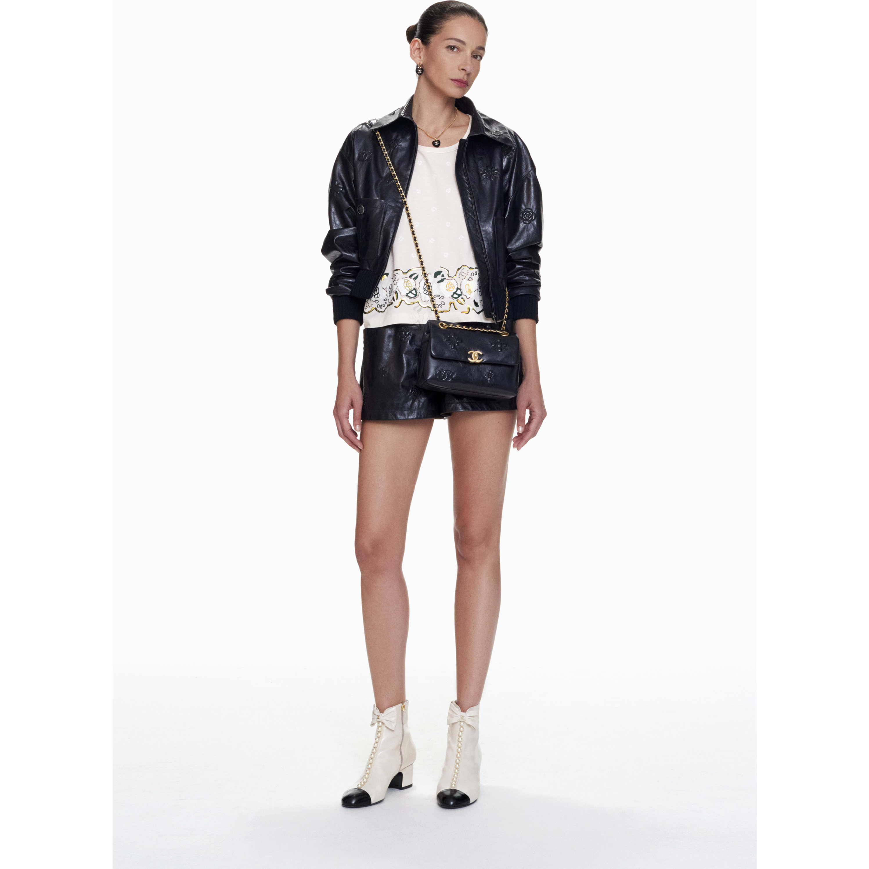 Shorts - Navy Blue - Lambskin - CHANEL - Default view - see standard sized version