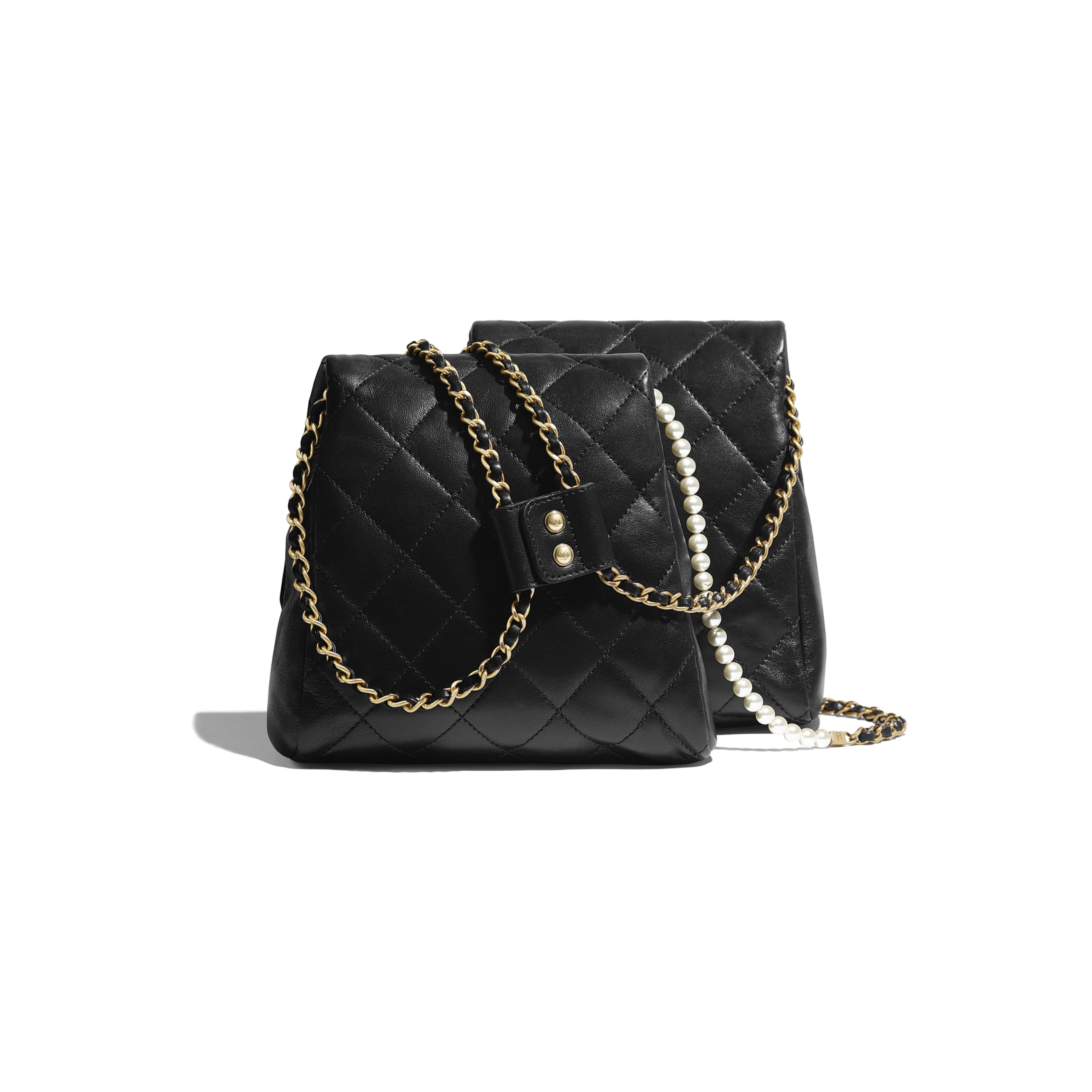 Side-Packs - Black - Lambskin, Imitation Pearls & Gold-Tone Metal - Alternative view - see standard sized version