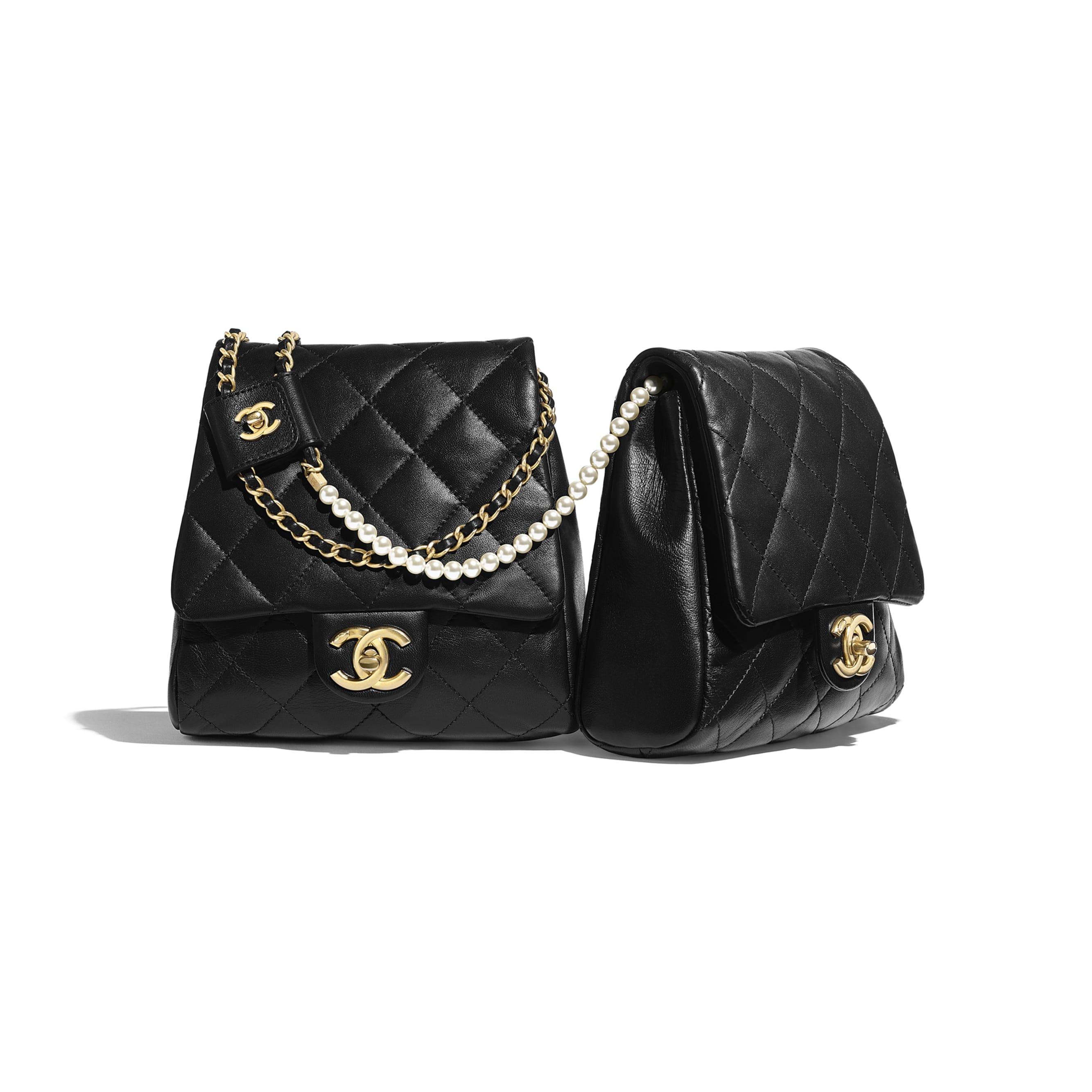 Side-Packs - Black - Lambskin, Imitation Pearls & Gold-Tone Metal - Default view - see standard sized version
