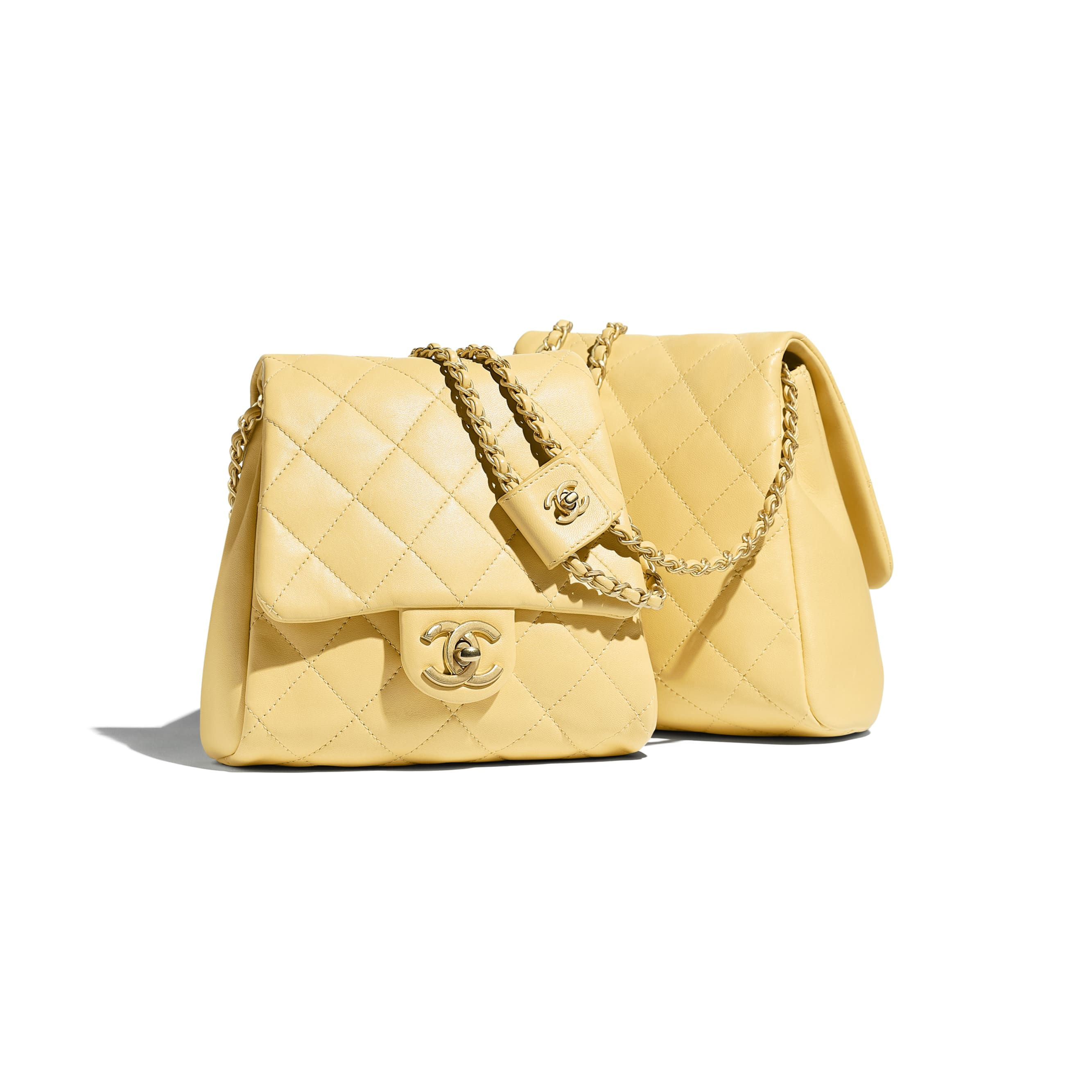 Side-Packs - Yellow - Lambskin & Gold-Tone Metal - Default view - see standard sized version