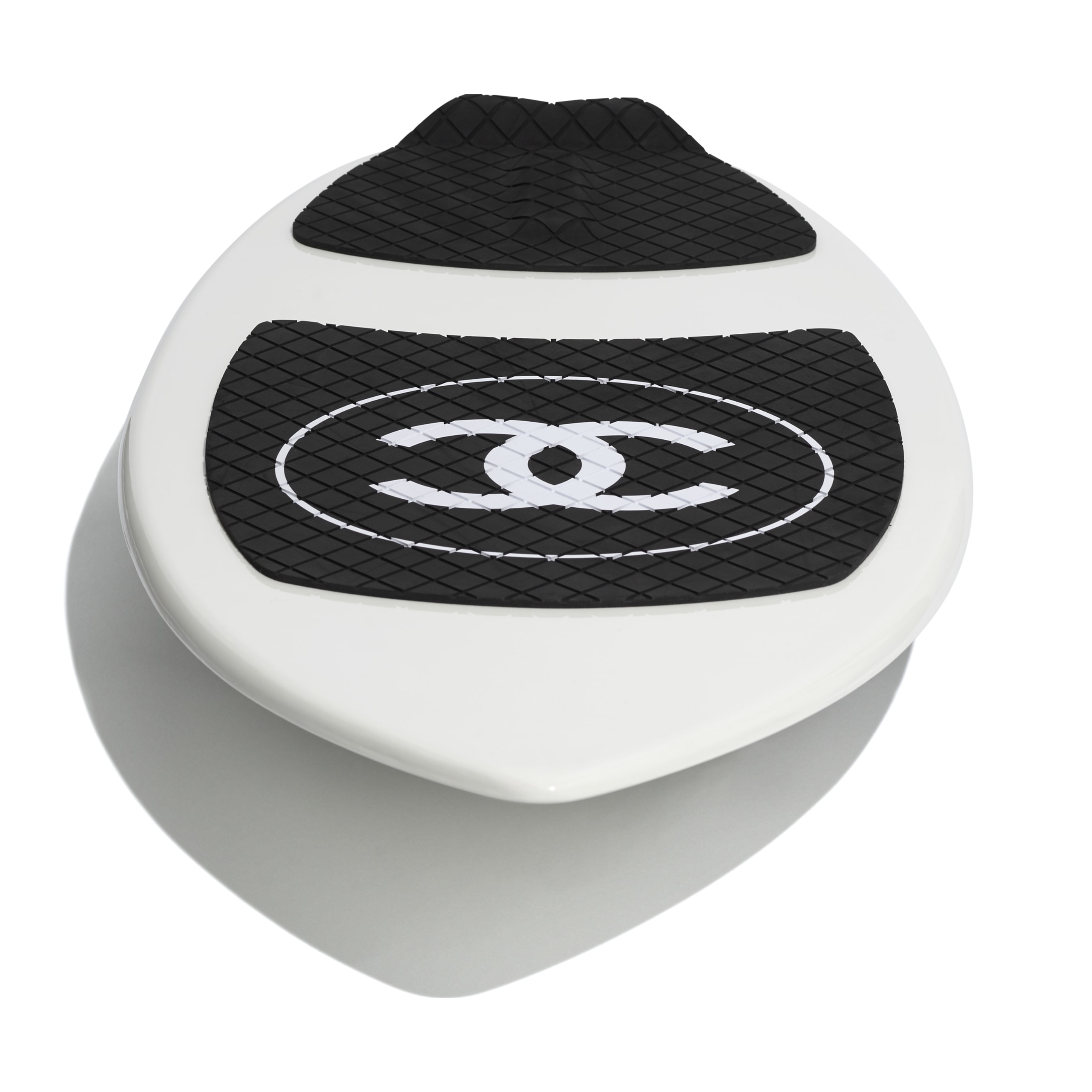 Skimboard - White & Black - Fiberglass & Resin - CHANEL - Other view - see standard sized version