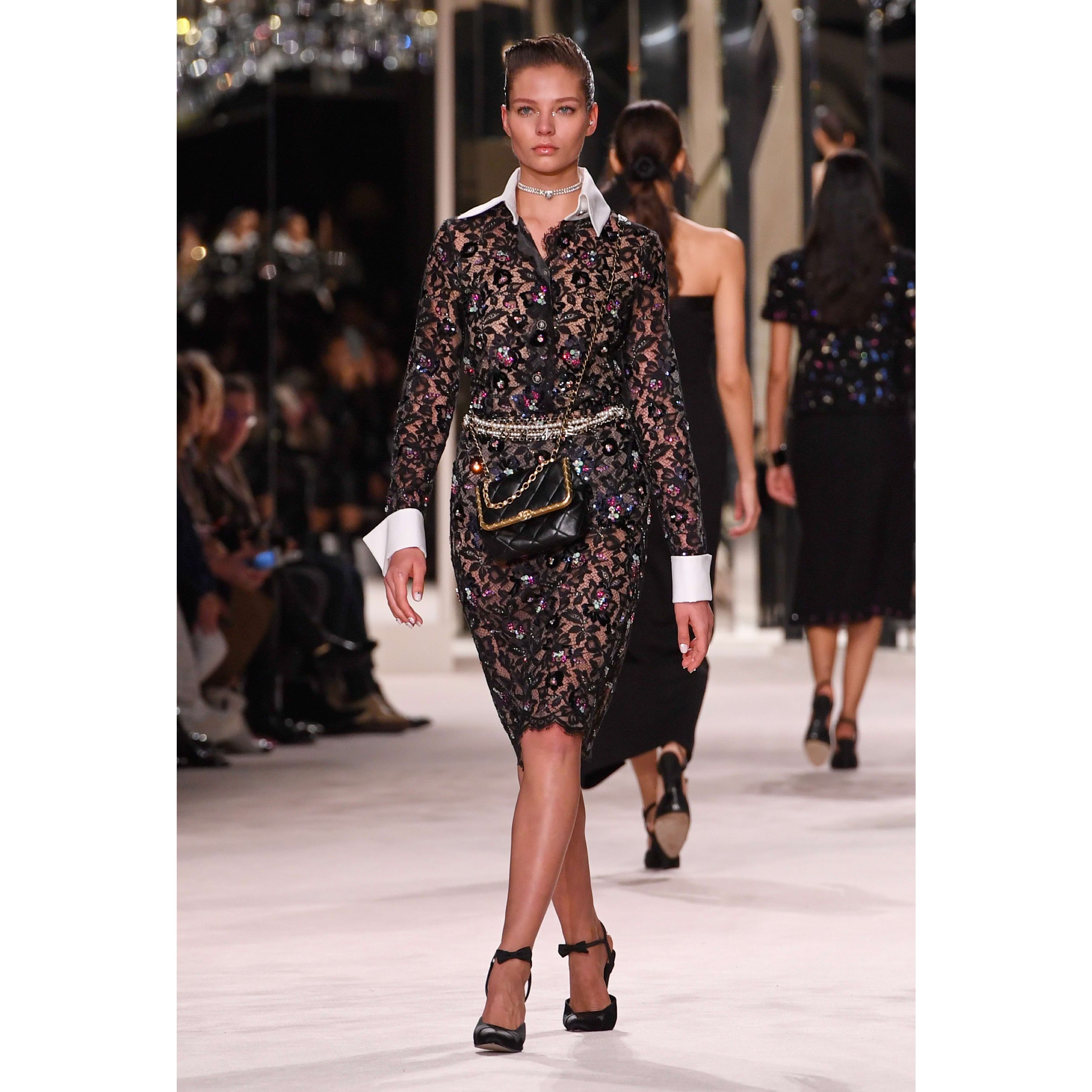 Skirt - Black - Embroidered Lace - CHANEL - Default view - see standard sized version