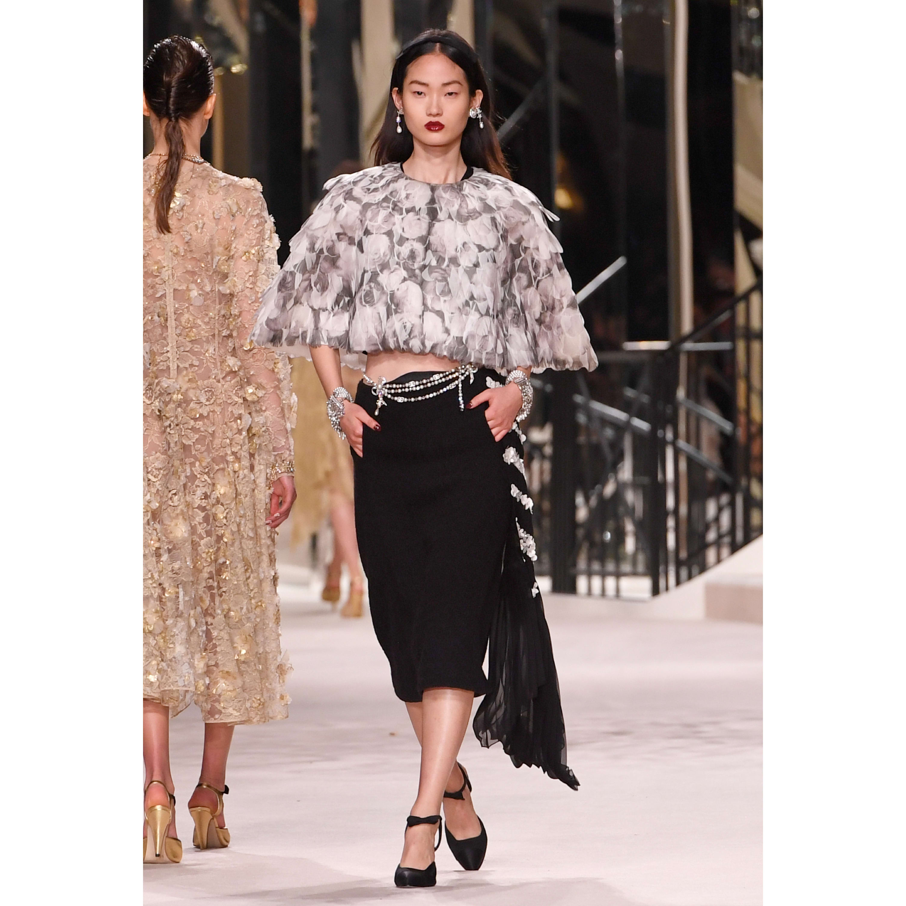 Skirt - Black - Embroidered Wool Tweed - CHANEL - Default view - see standard sized version
