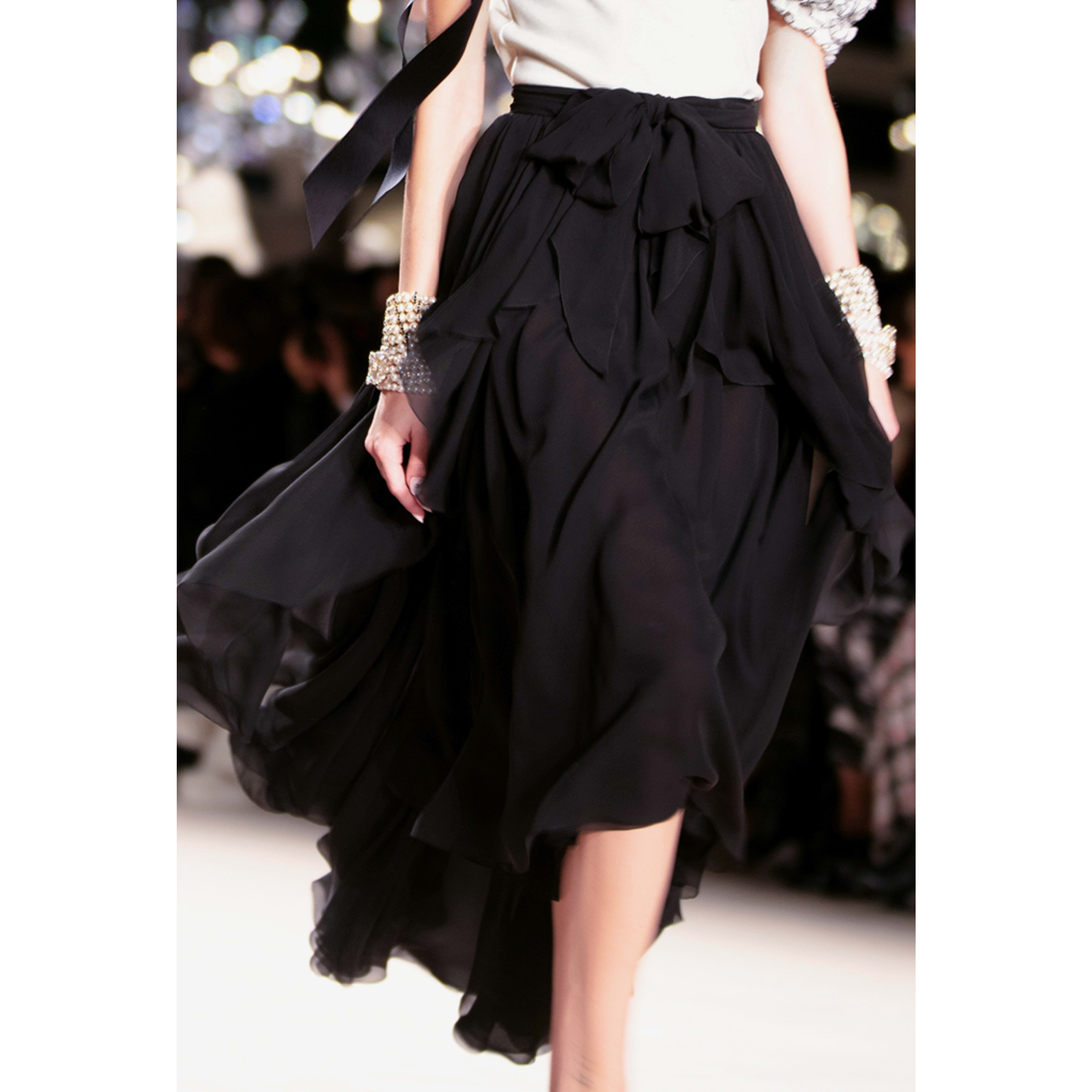 Skirt - Black - Crepe Georgette - CHANEL - Other view - see standard sized version
