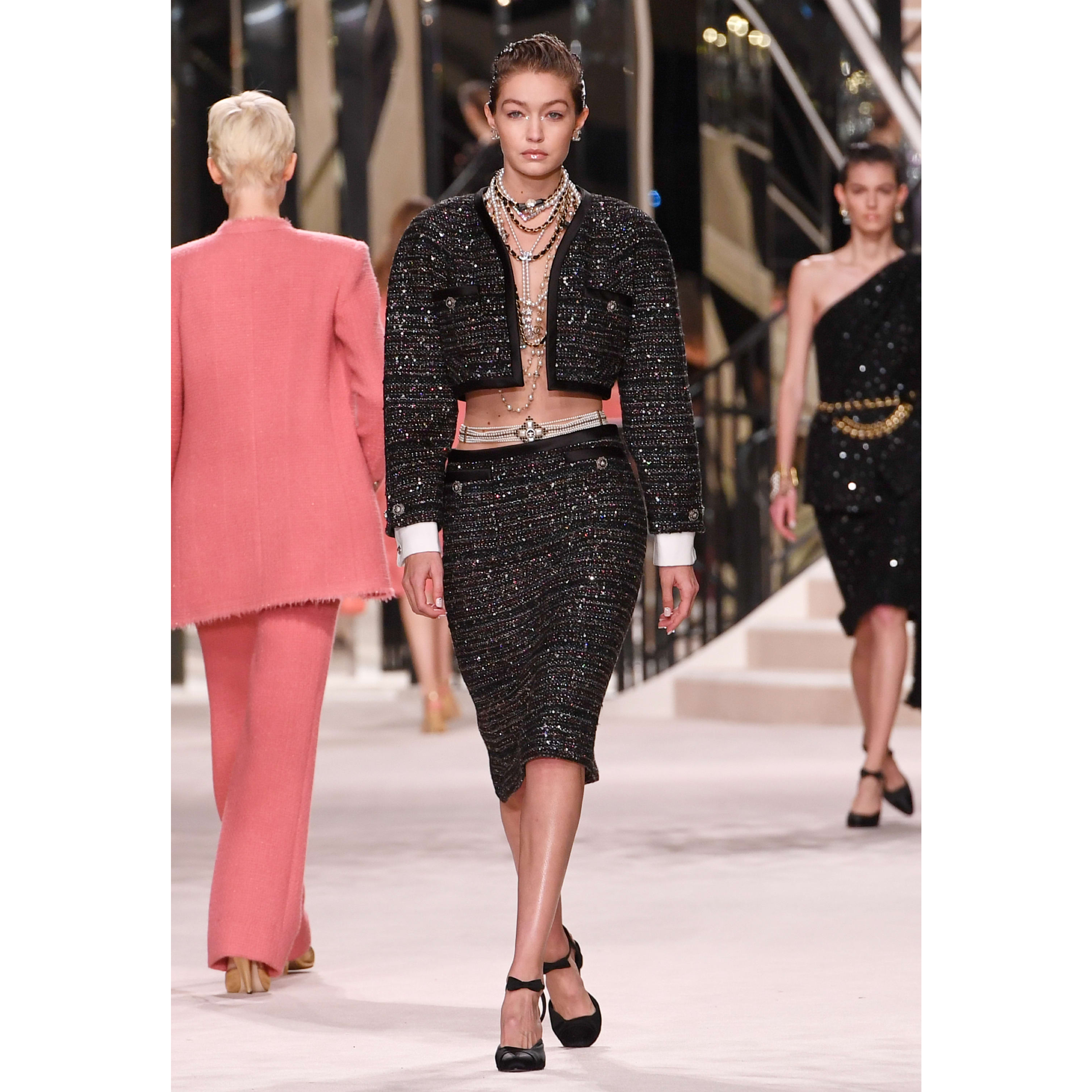 Skirt - Black, Silver, Blue & Red - Tweed - CHANEL - Default view - see standard sized version
