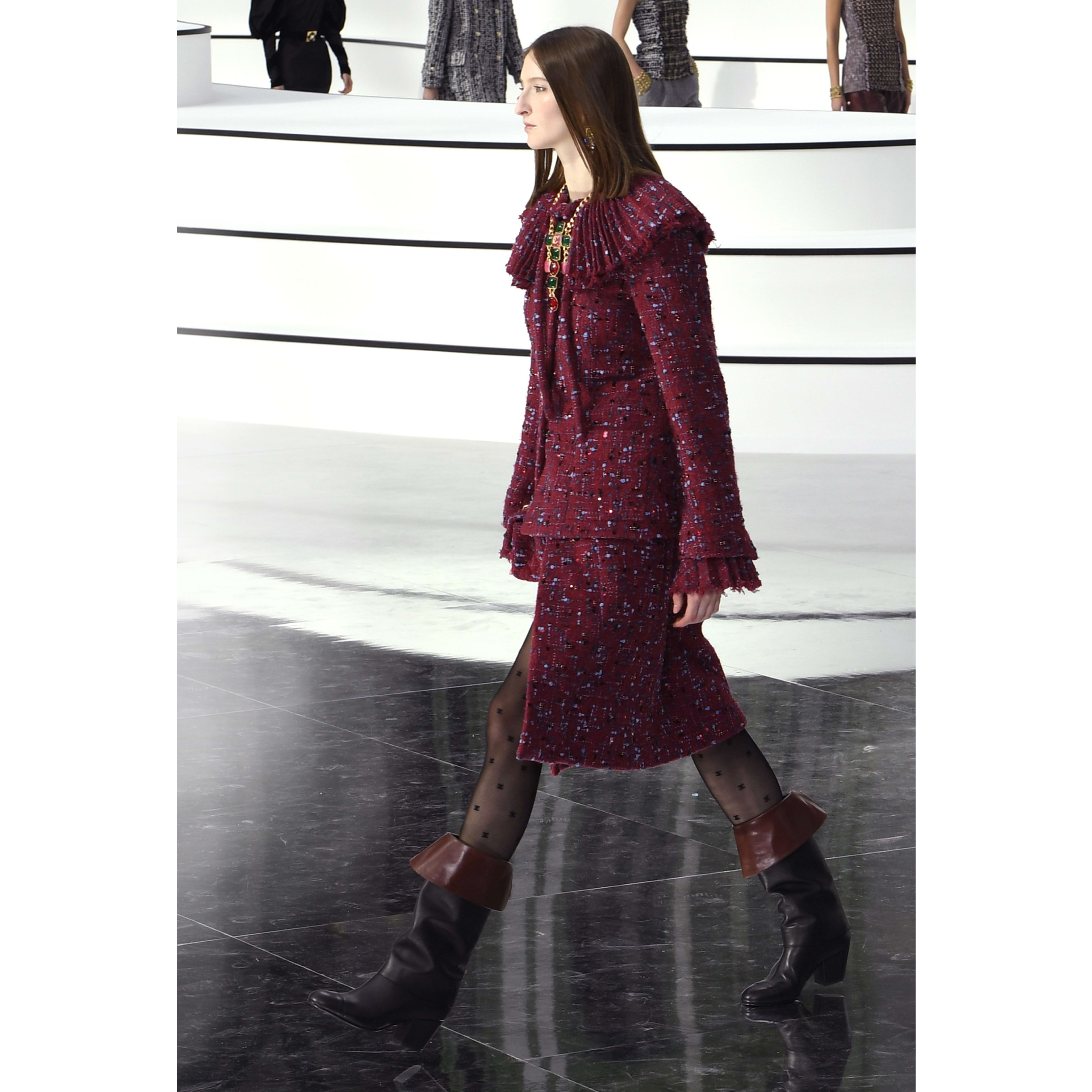 Skirt - Burgundy, Blue & Grey - Embroidered Tweed - CHANEL - Default view - see standard sized version