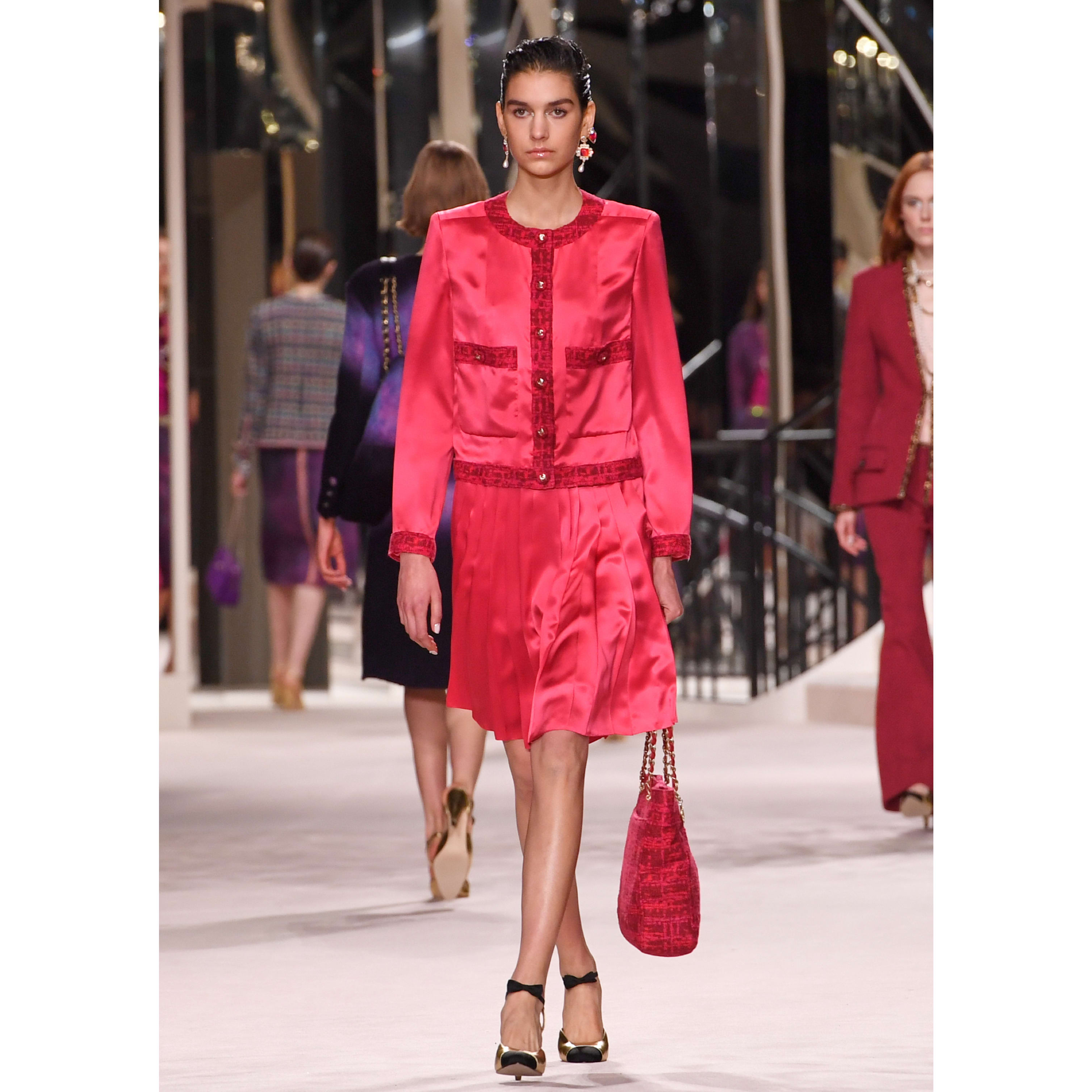 Skirt - Fuchsia - Silk Crepe - CHANEL - Default view - see standard sized version