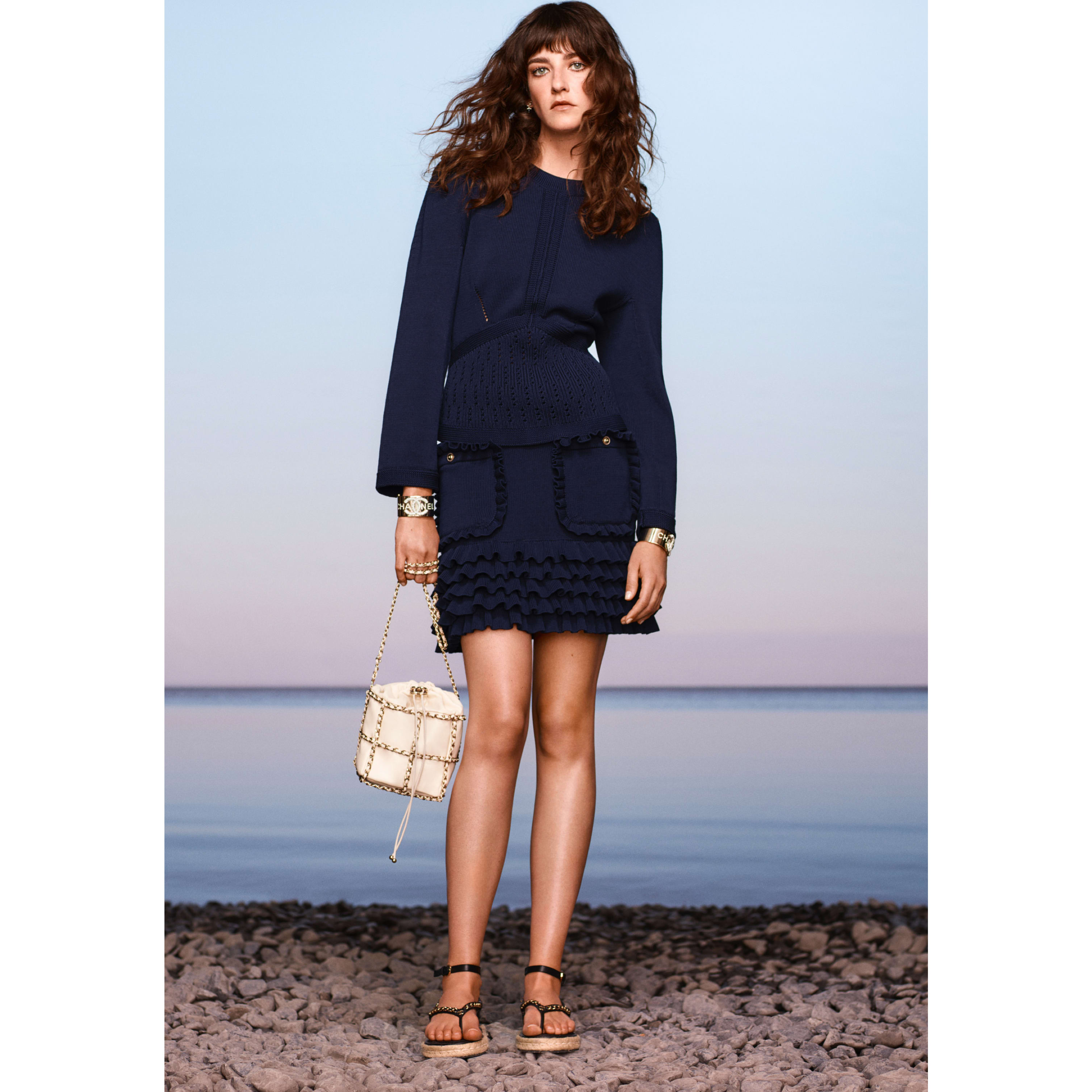 Skirt - Navy Blue - Cotton - CHANEL - Default view - see standard sized version