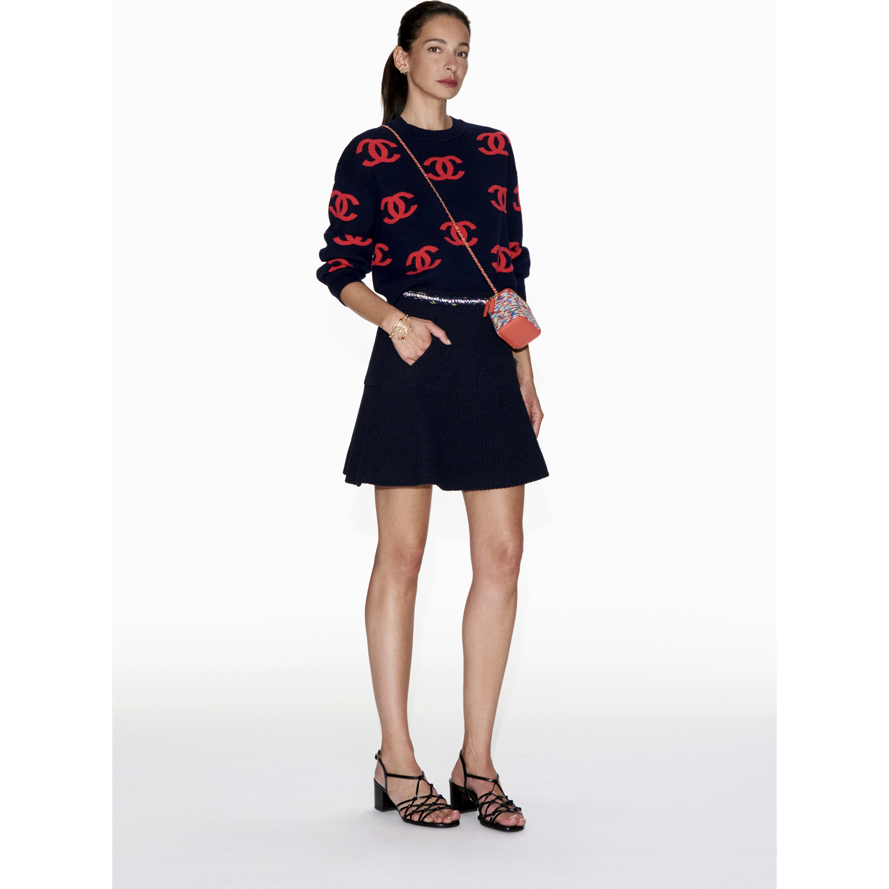 Skirt - Navy Blue - Cotton Tweed - CHANEL - Default view - see standard sized version