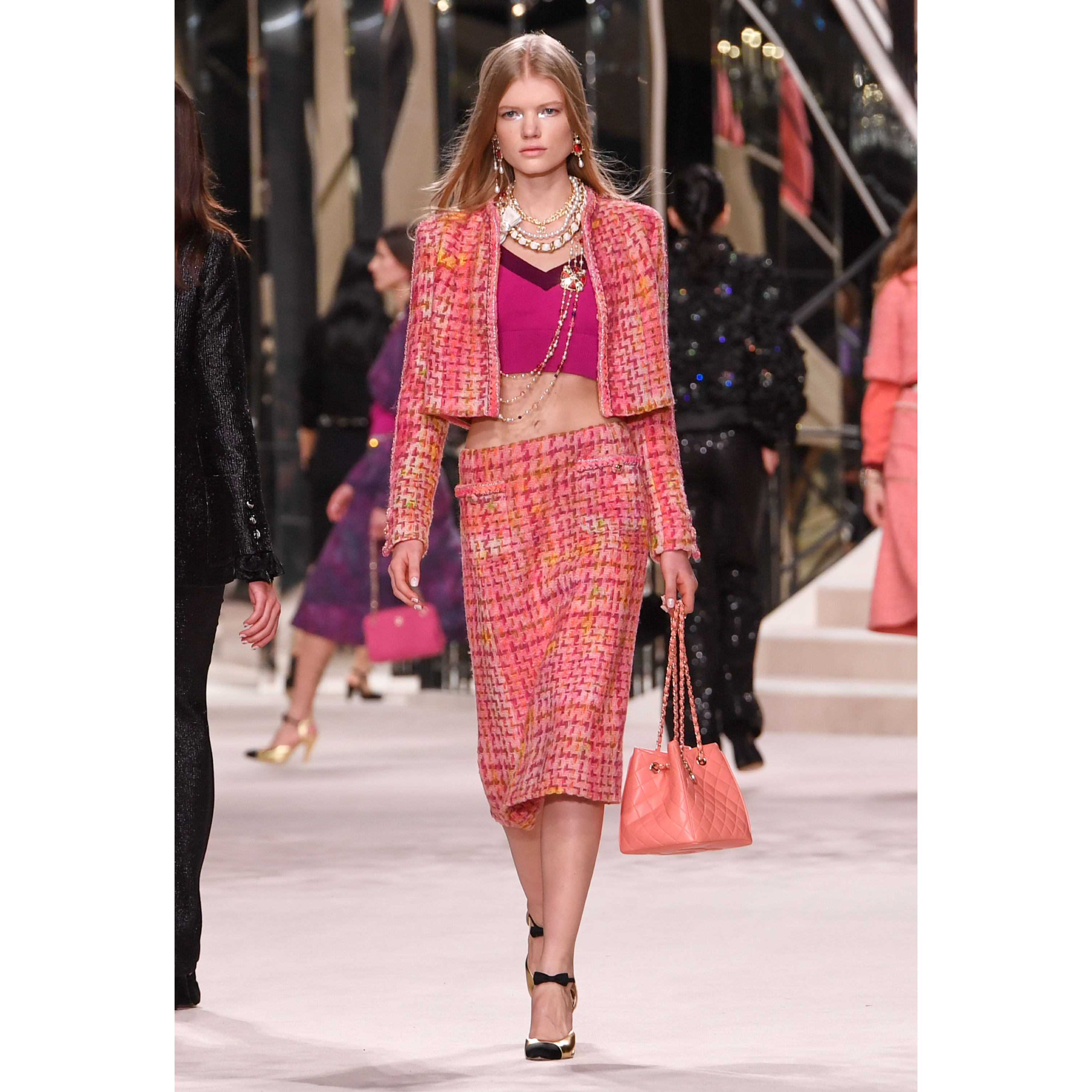 Skirt - Pink, Fuchsia & Yellow - Tweed - CHANEL - Default view - see standard sized version