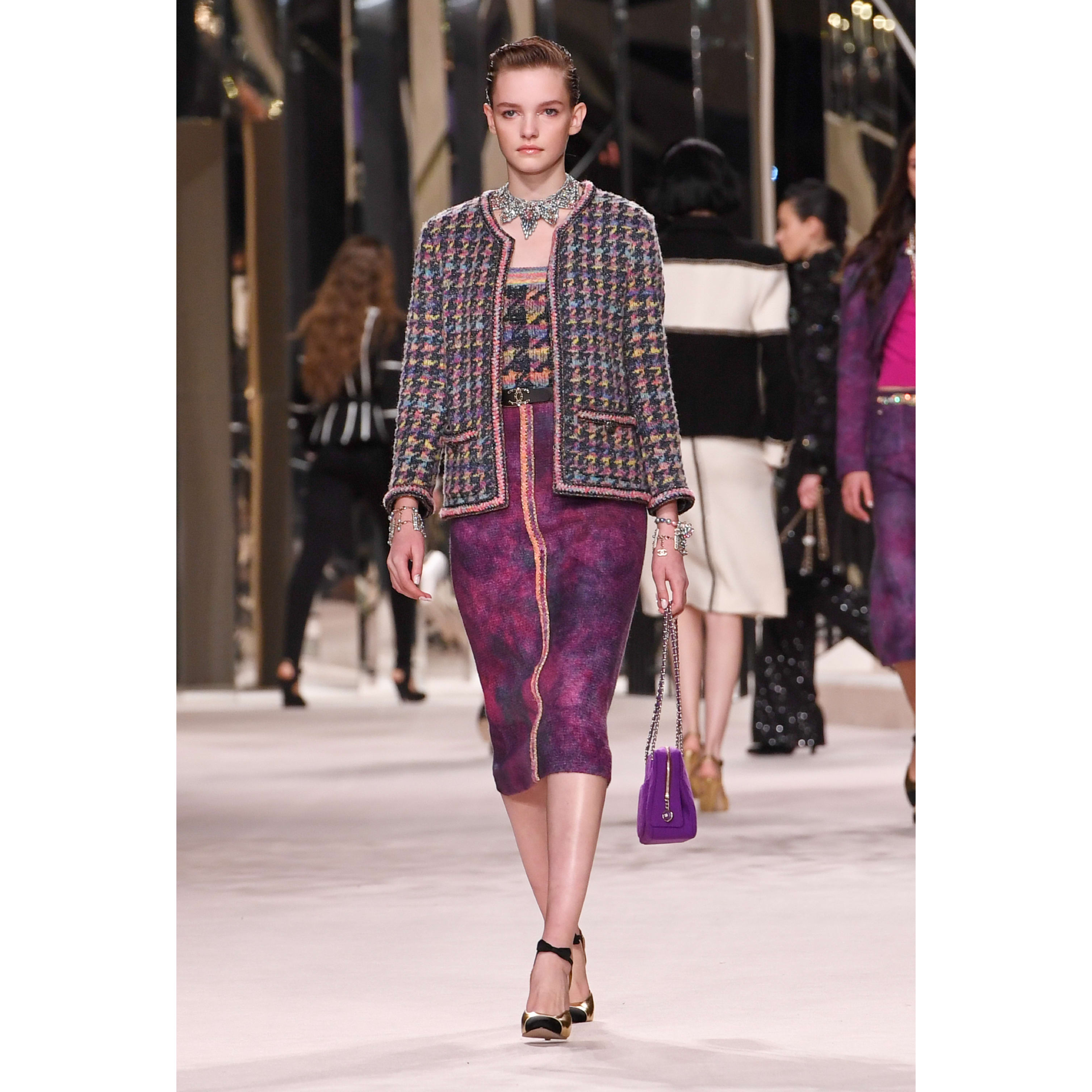 Skirt - Purple & Pink - Wool Tweed - CHANEL - Default view - see standard sized version