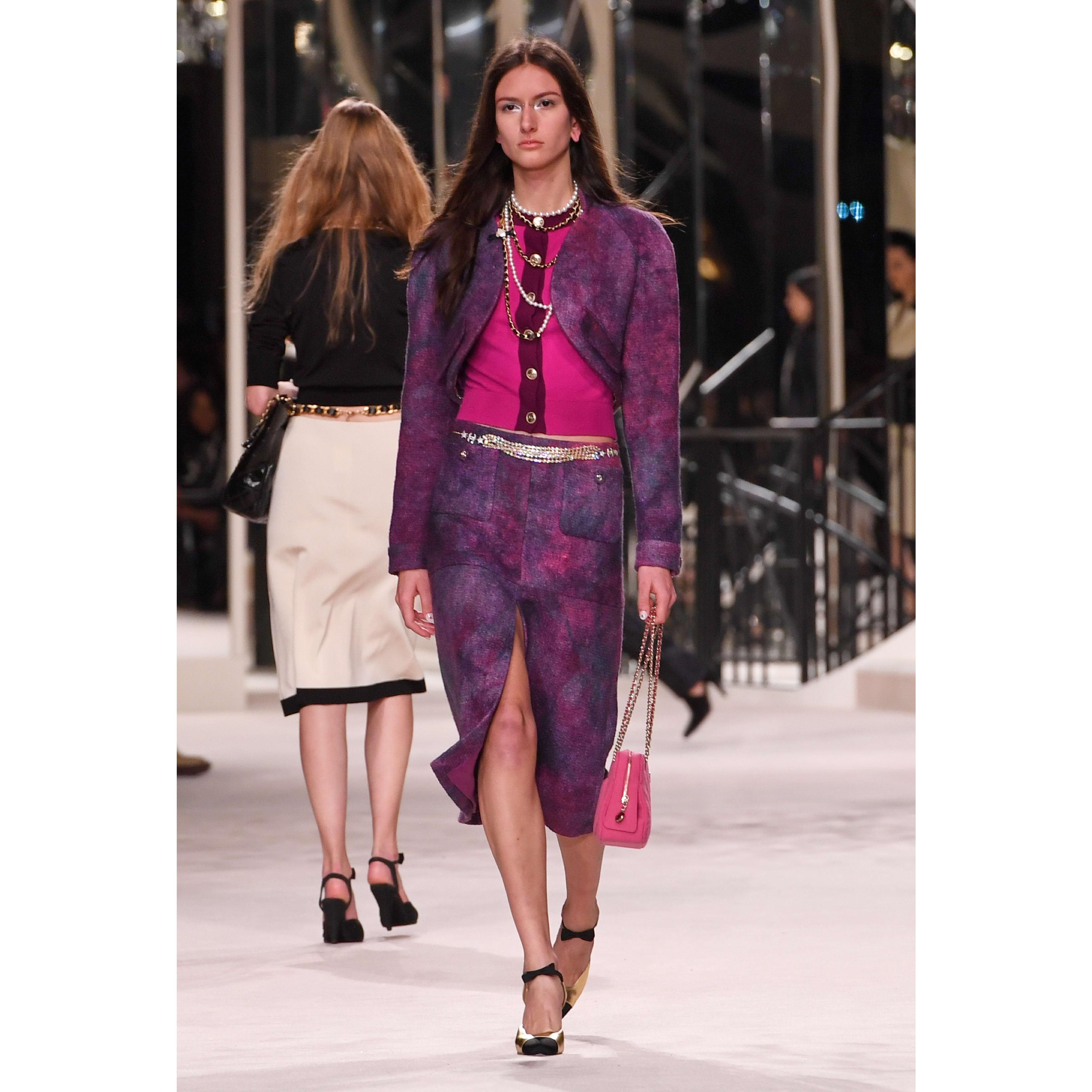 Skirt - Purple & Pink - Wool Tweed - CHANEL - Default view - see standard sized version