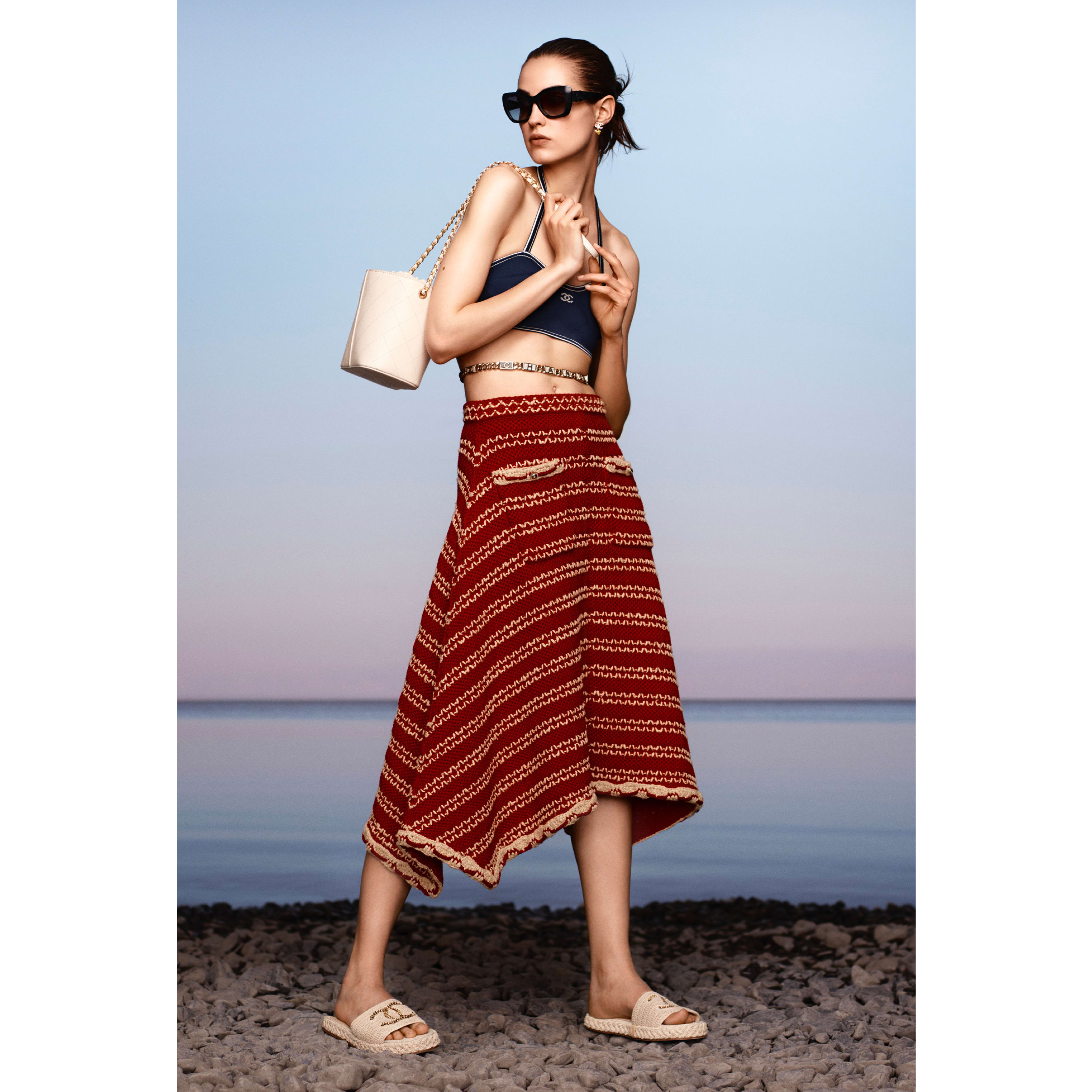 Skirt - Red & Beige - Cotton & Silk - CHANEL - Default view - see standard sized version
