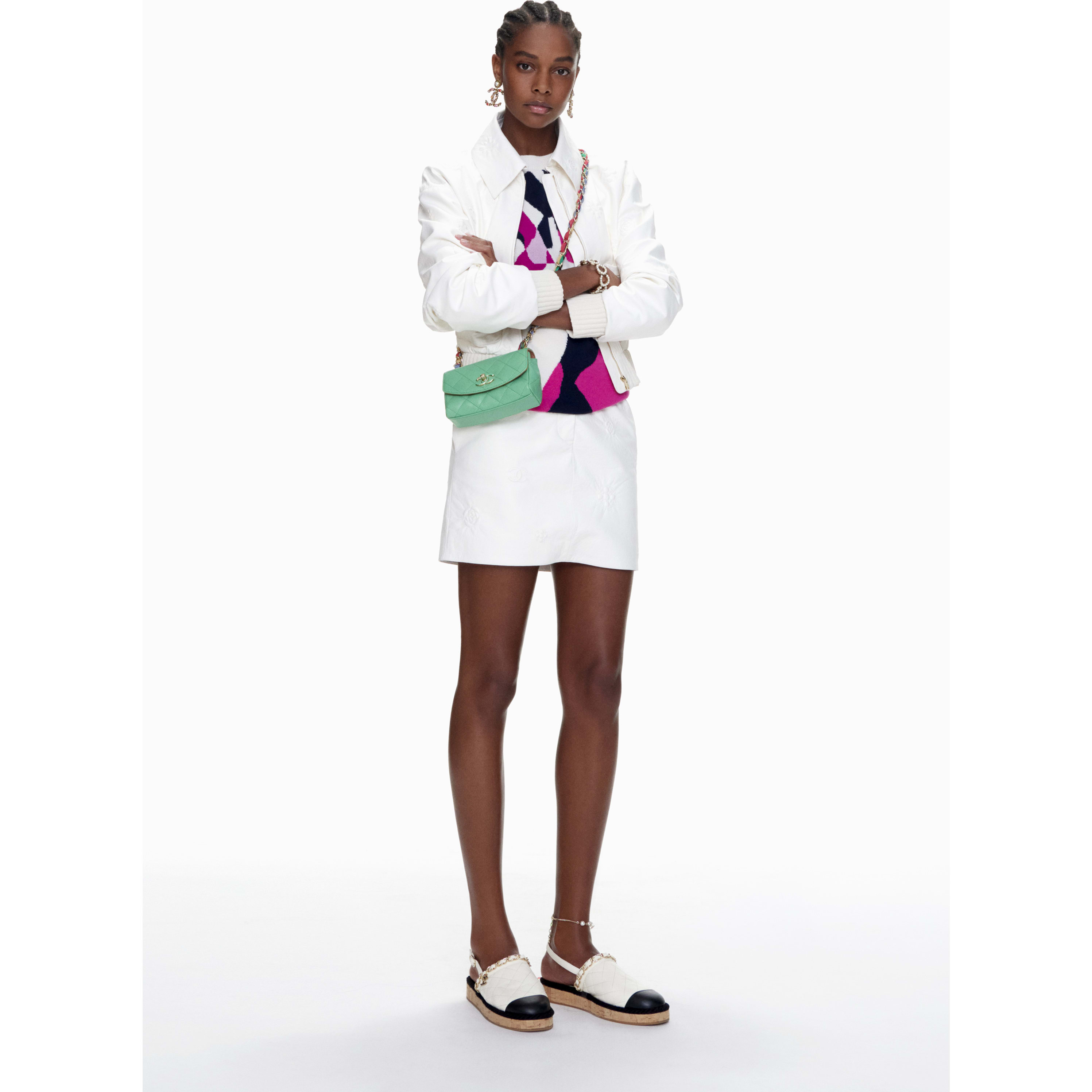 Skirt - White - Lambskin - CHANEL - Default view - see standard sized version