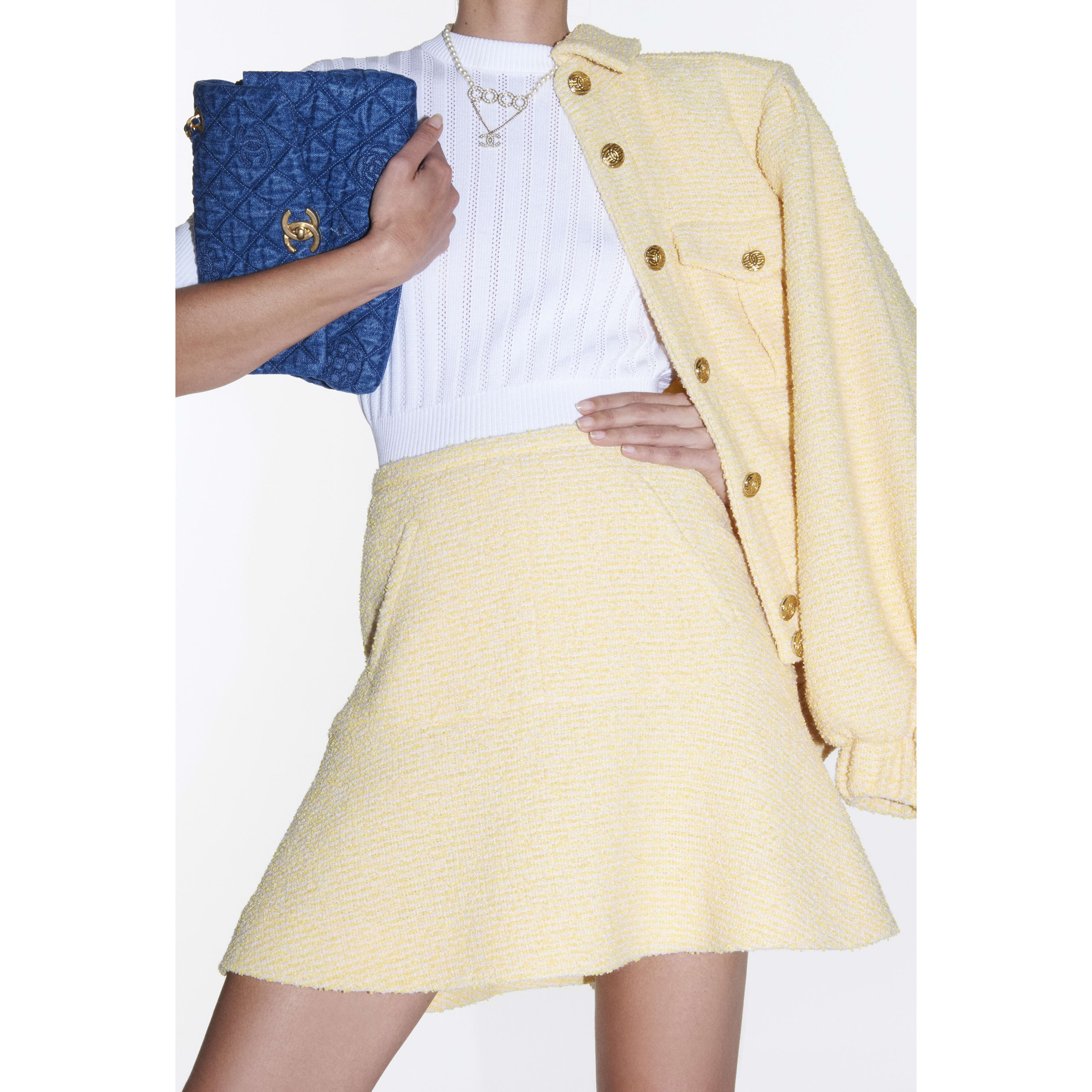 Skirt - Yellow & Pink - Iridescent Tweed - CHANEL - Alternative view - see standard sized version