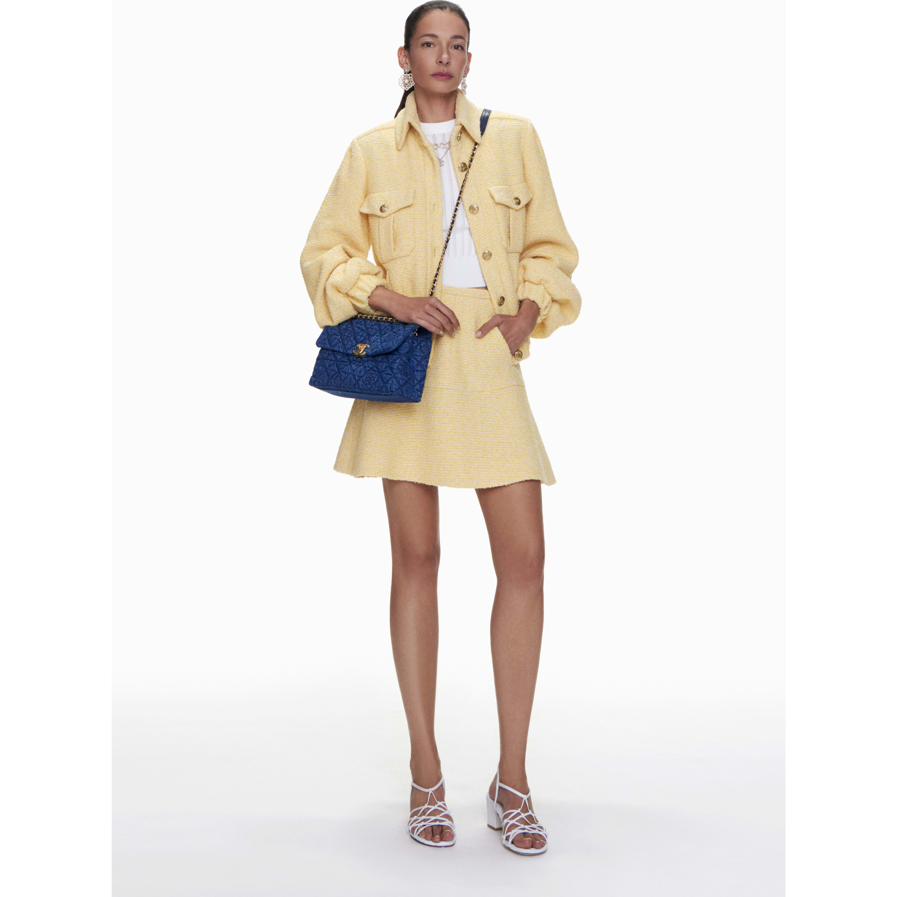 Skirt - Yellow & Pink - Iridescent Tweed - CHANEL - Default view - see standard sized version